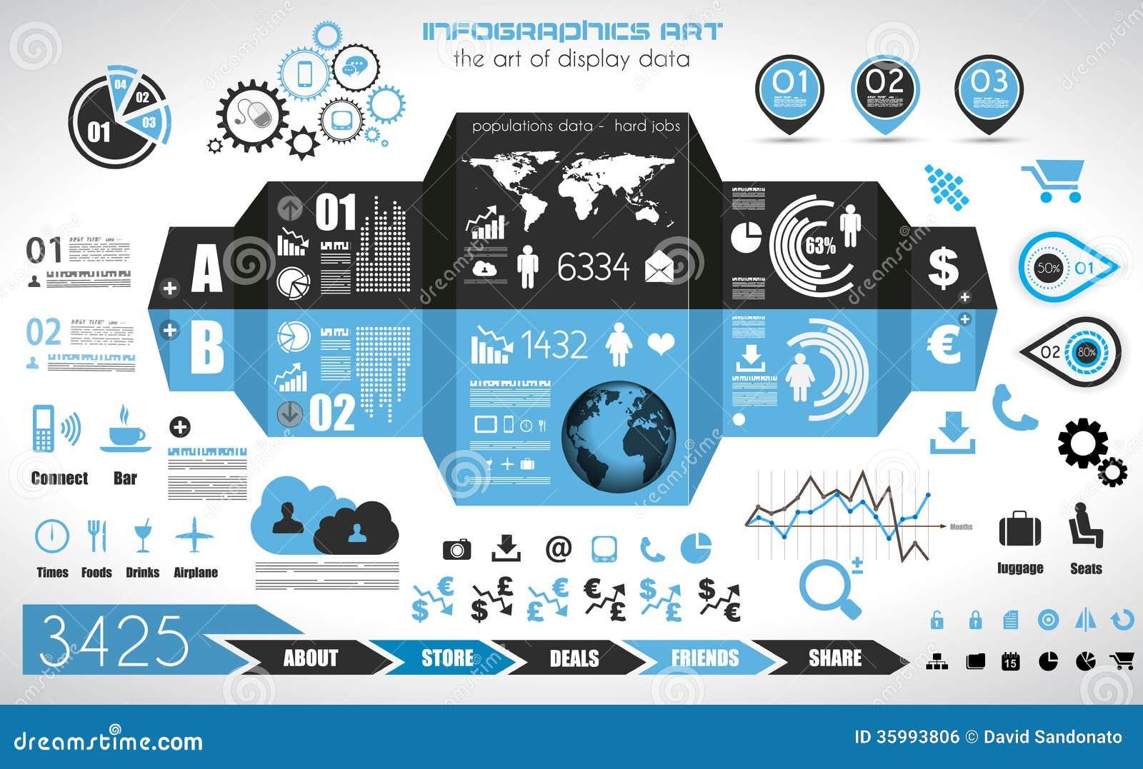 Éléments d Infographic - ensemble d étiquettes de papier, icônes de technologie,…