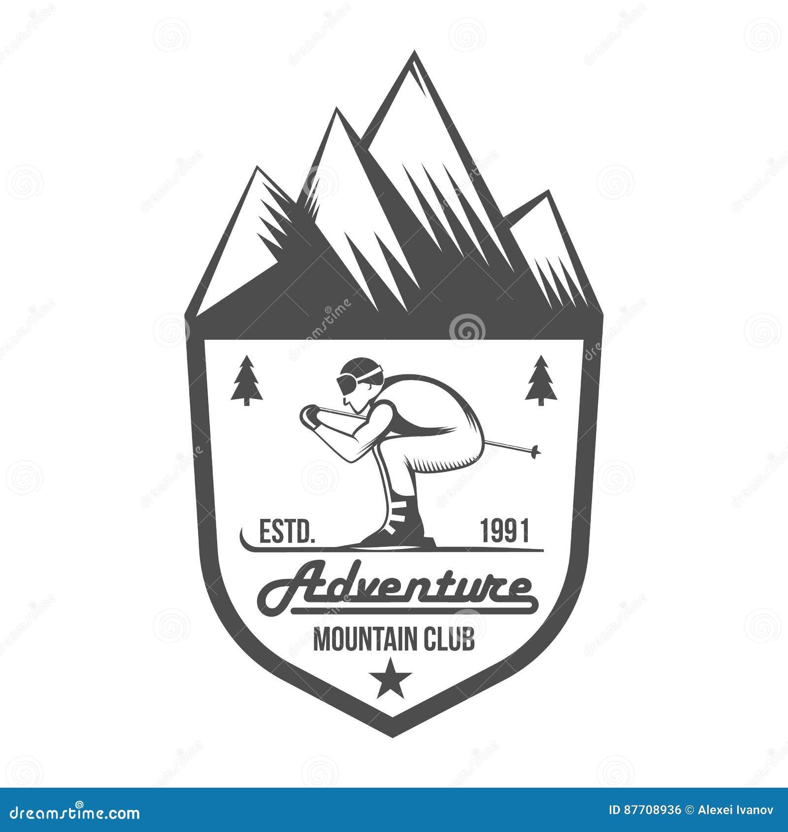 Éléments d insigne et de conception de label de ski de vintage