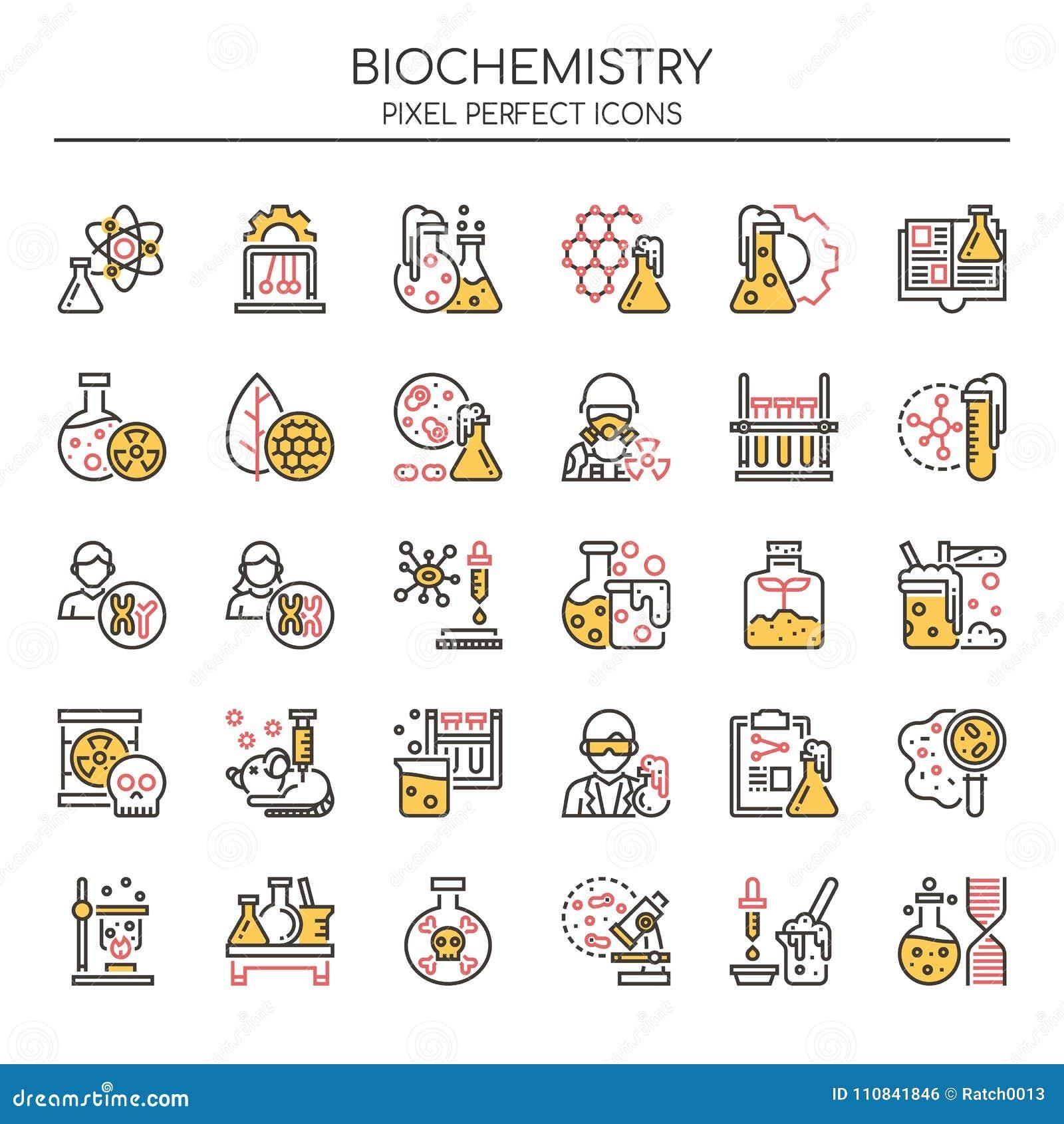 Éléments de biochimie, ligne mince et icônes parfaites de pixel