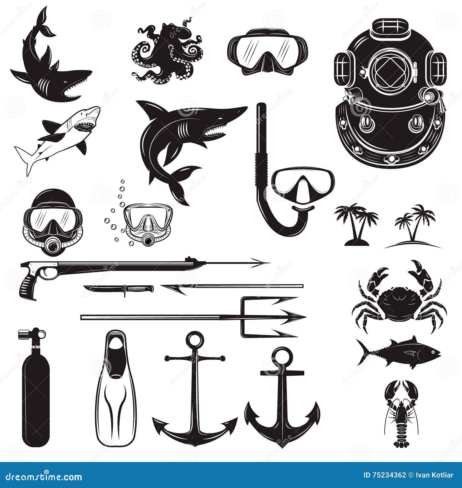 Éléments De Conception De Plongeur Arme De Plongeur, Casque