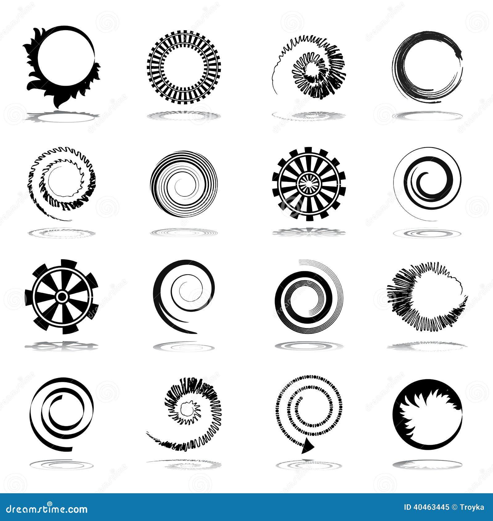 Éléments de conception de spirale et de rotation.