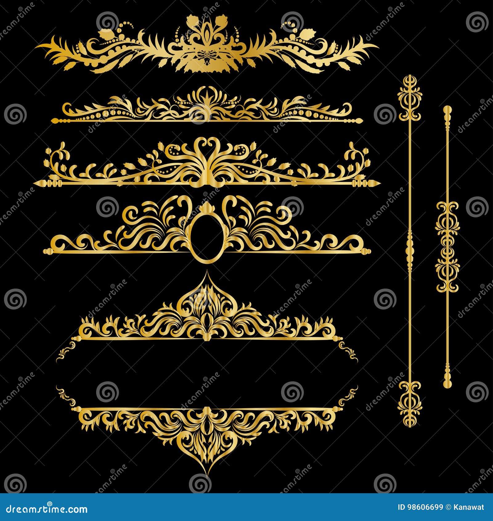 Éléments de décorations de vintage d or de couleur Ornements et cadres calligraphiques de Flourishes Rétro conception de type