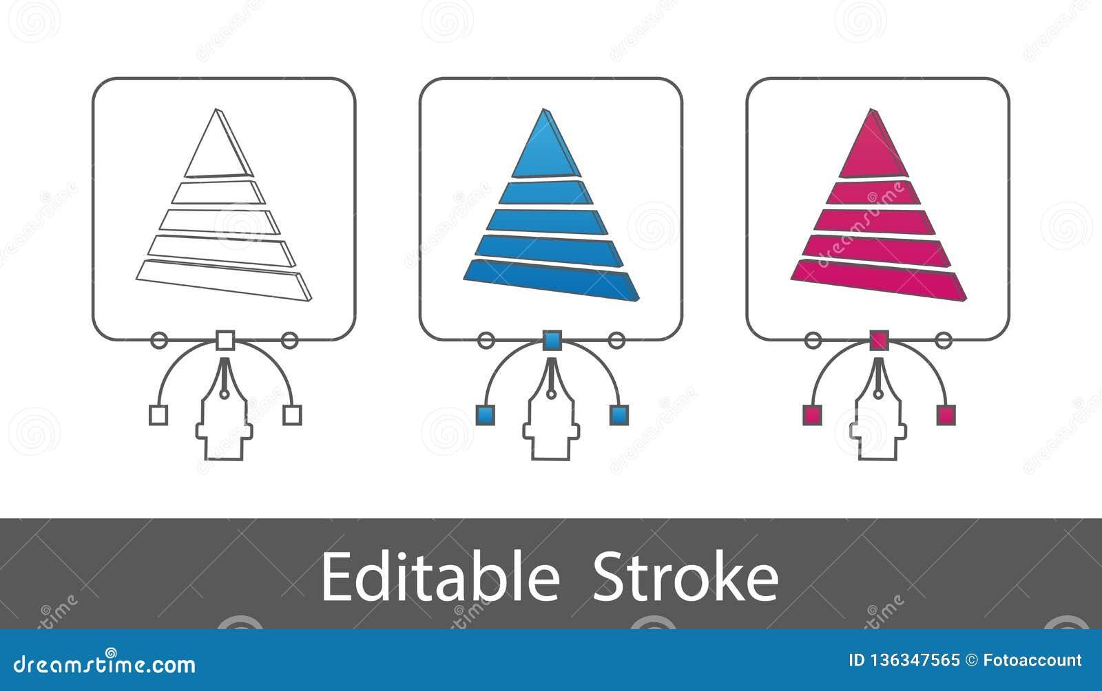 éléments de 3D Pyramide - contour a dénommé l icône - course Editable - illustration de vecteur - d isolement sur le fond blanc
