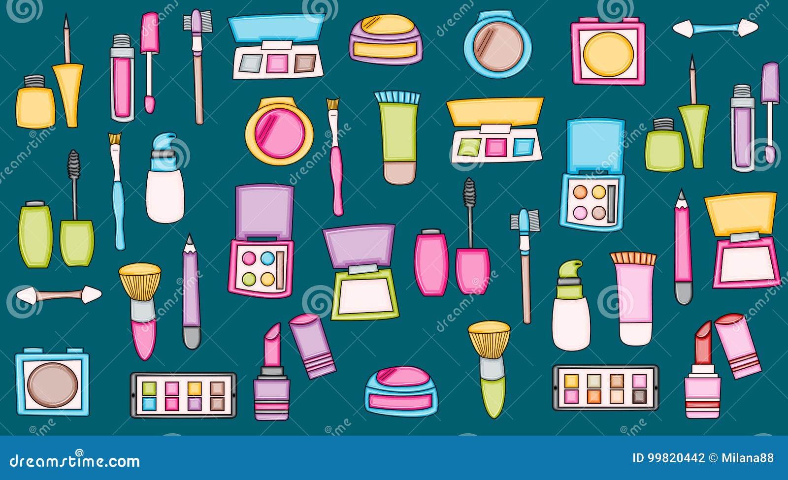 Éléments de griffonnage de bande dessinée de produits de maquillage De beauté d impression autocollants