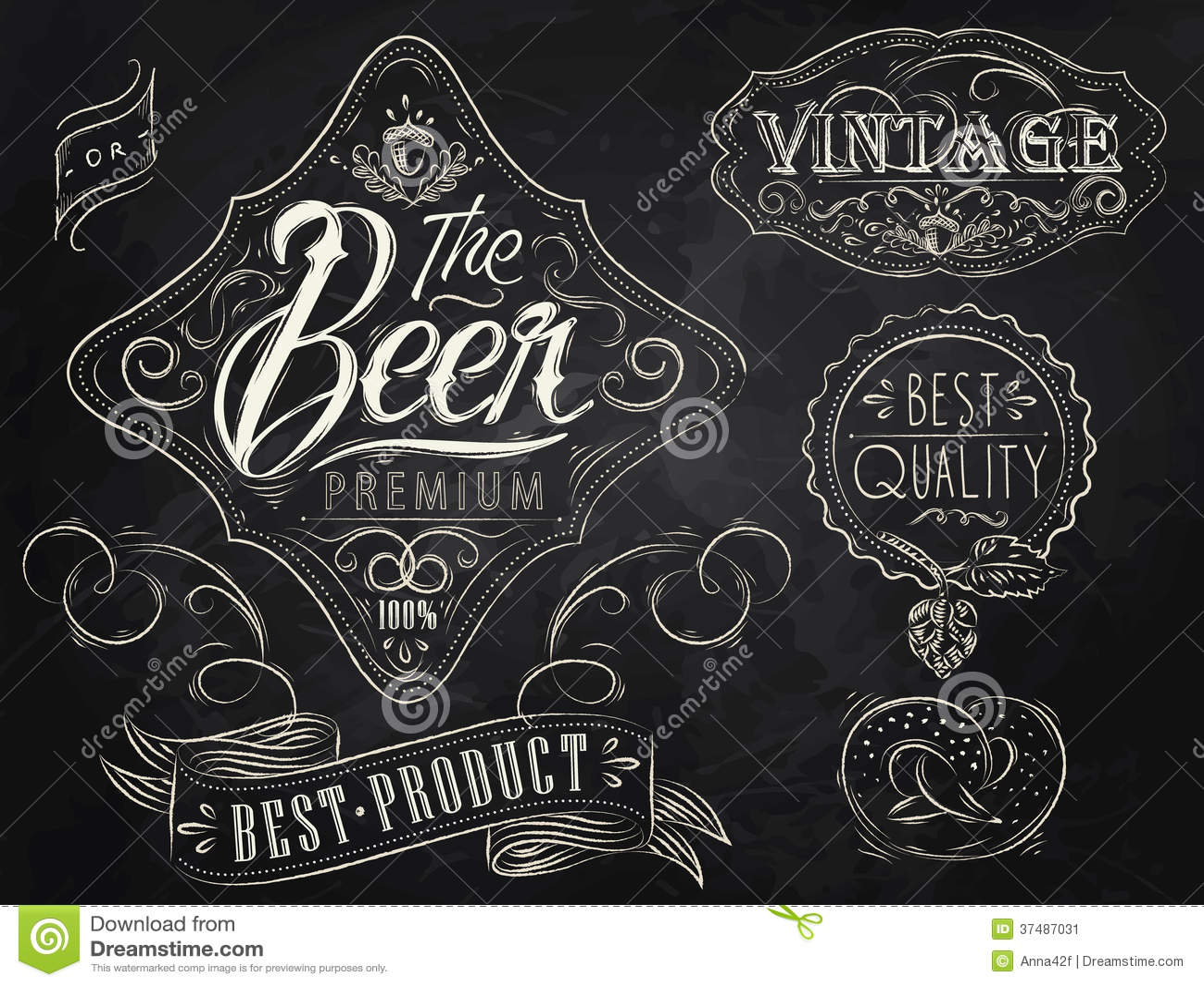 Éléments de vintage de bière. Craie.