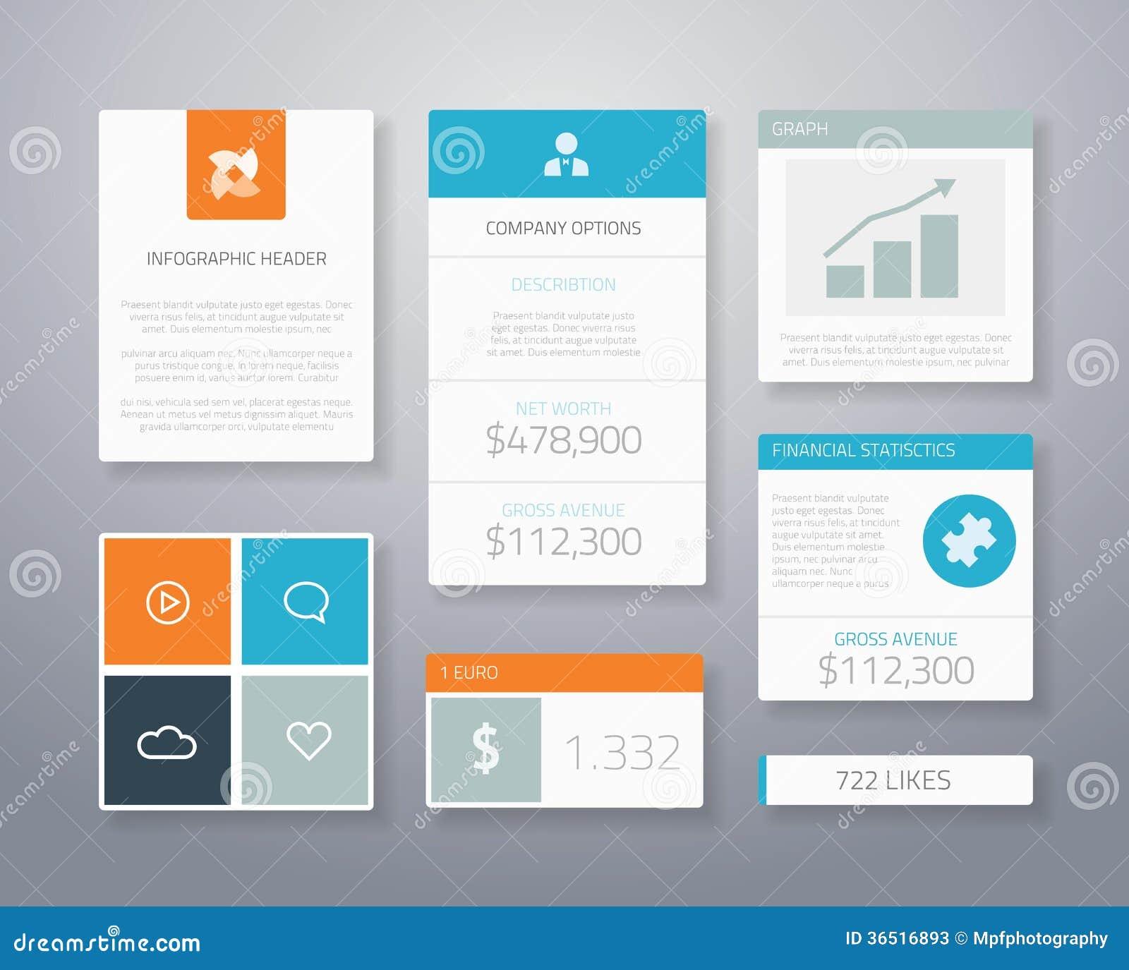 Éléments financiers plats VE d ui d affaires d Infographic