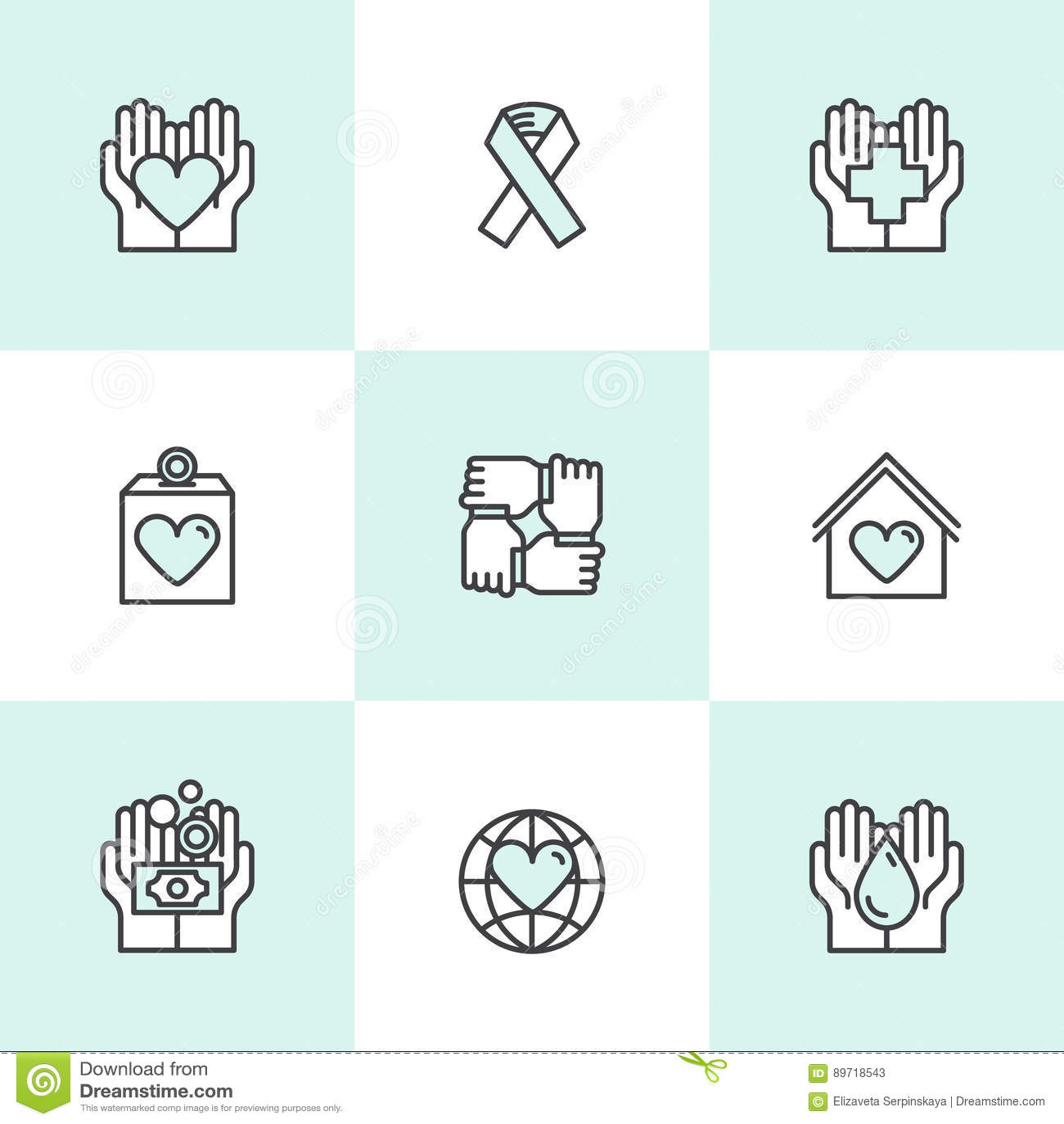 Éléments graphiques pour les organisations à but non lucratif et le centre de donation Symboles de collecte de fonds, label de pr