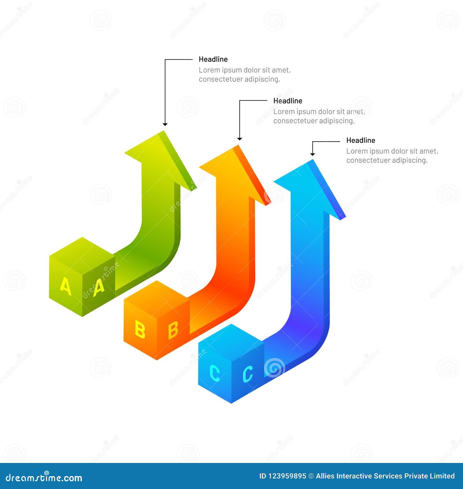 éléments infographic des flèches 3D isométriques avec trois niveaux pour b