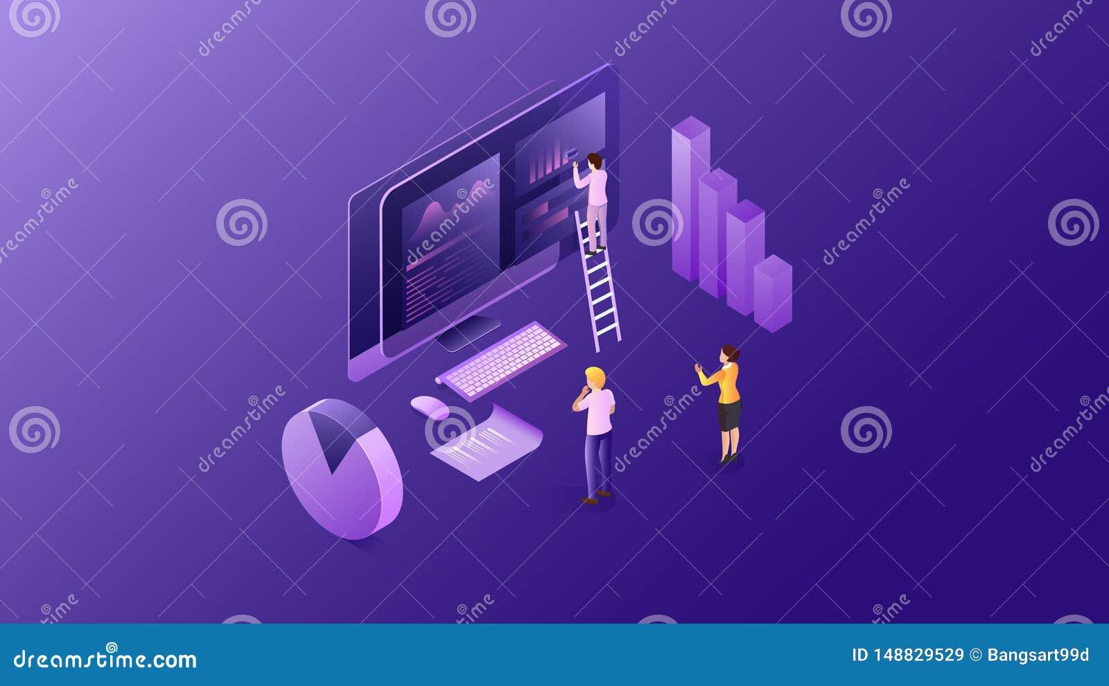 Éléments isométriques d un investissement d Internet Symbole financier d analyse et de strat?gie de Web Conception de vecteur Ill