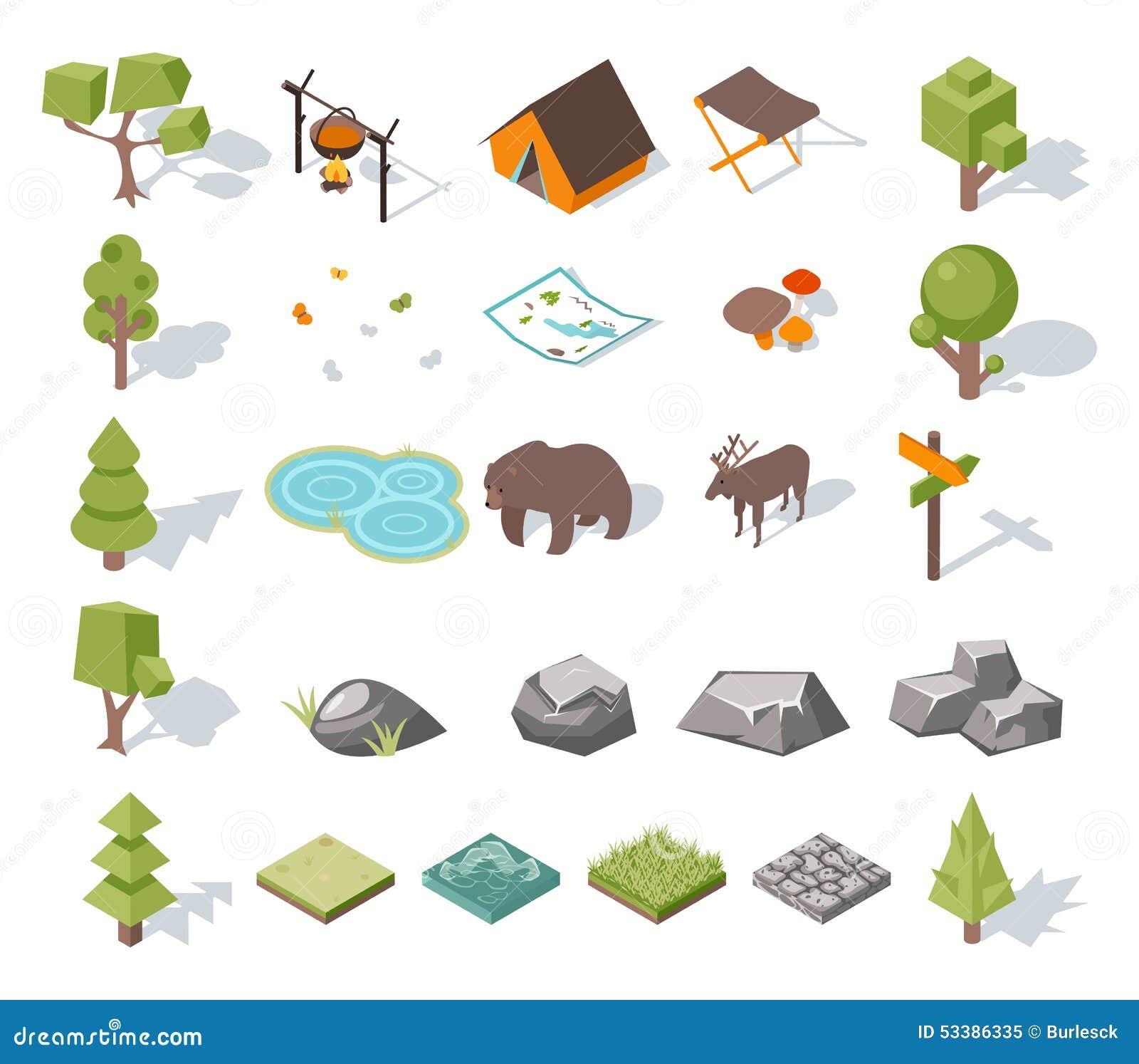 Éléments isométriques de camping de la forêt 3d pour le paysage