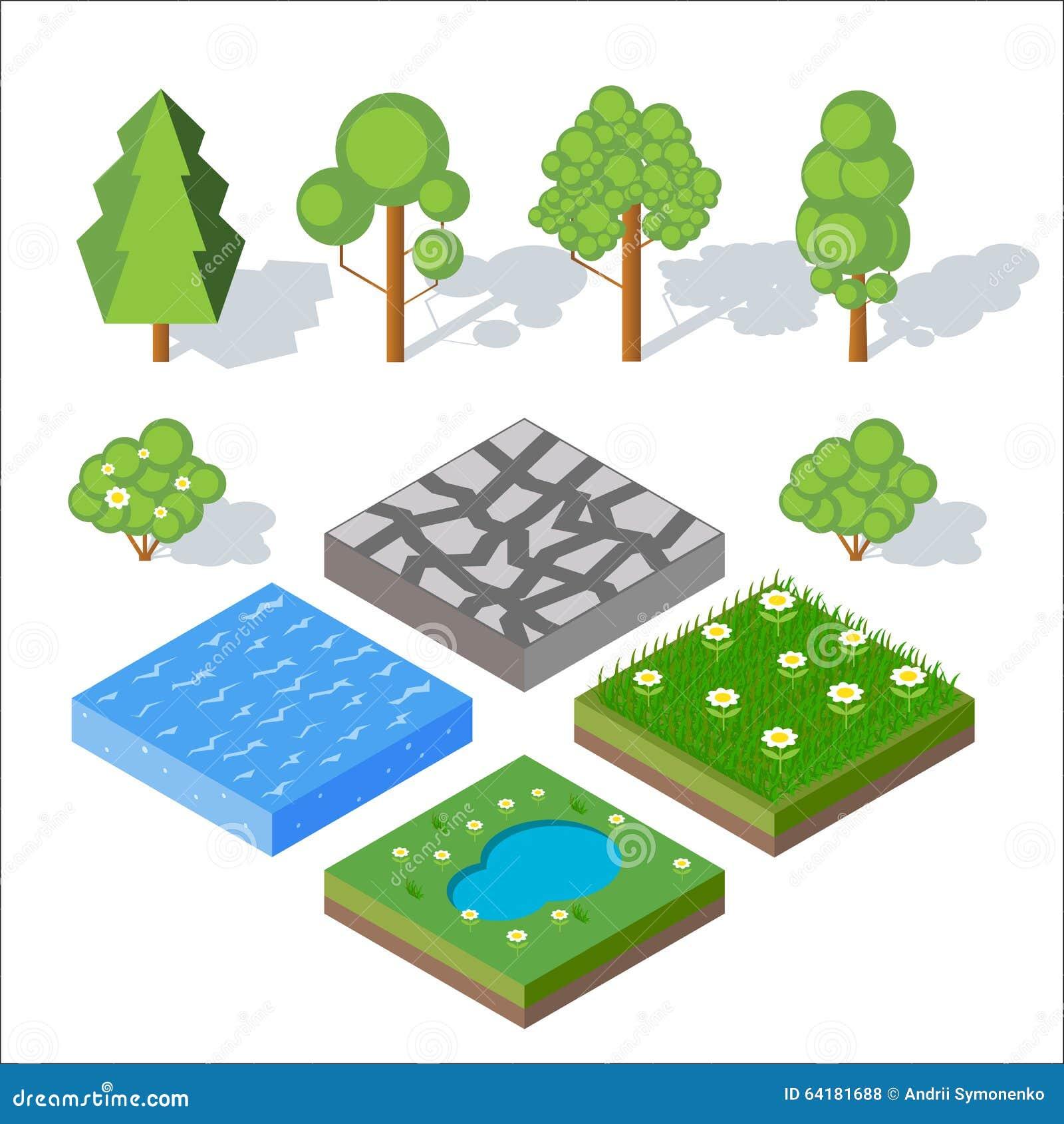 Éléments isométriques de paysage Buissons et arbres, l eau, herbe