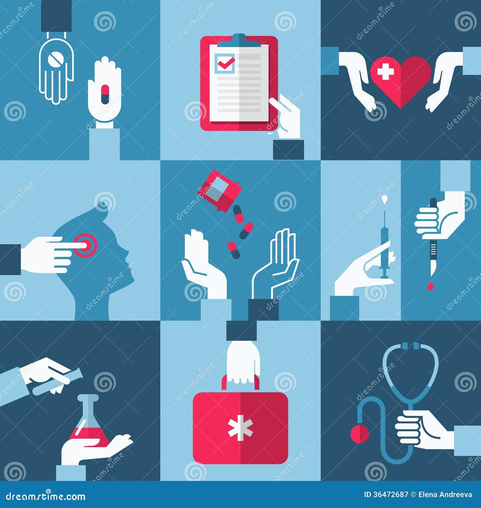 Éléments médicaux et de soins de santé de conception. Illustration de vecteur