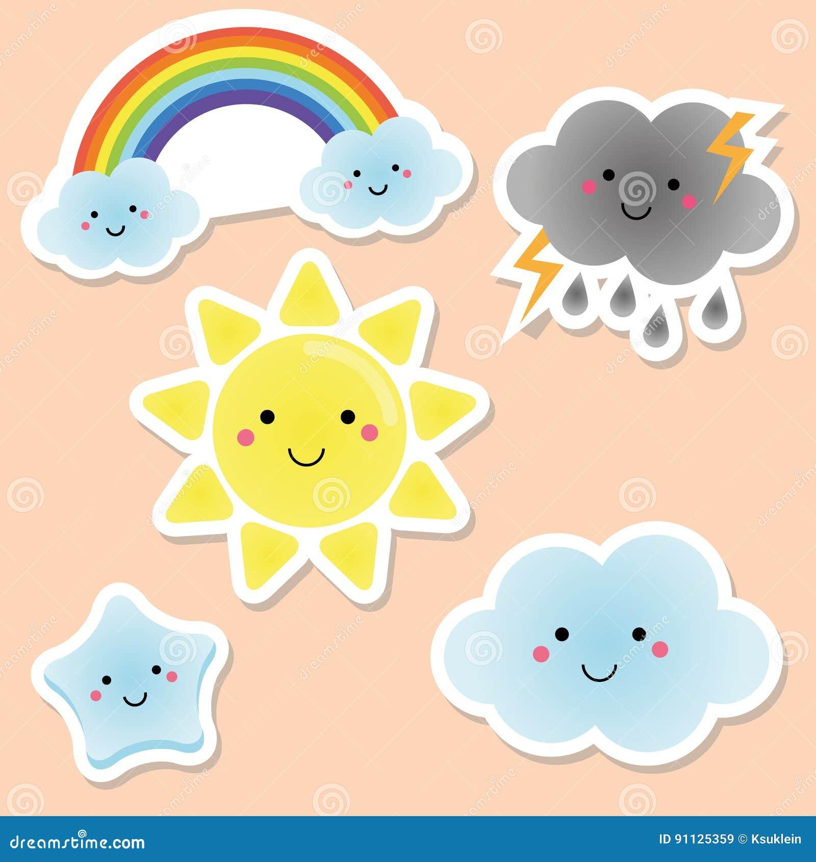 L ments mignons de temps et de ciel le soleil de kawaii - Image arc en ciel gratuite ...