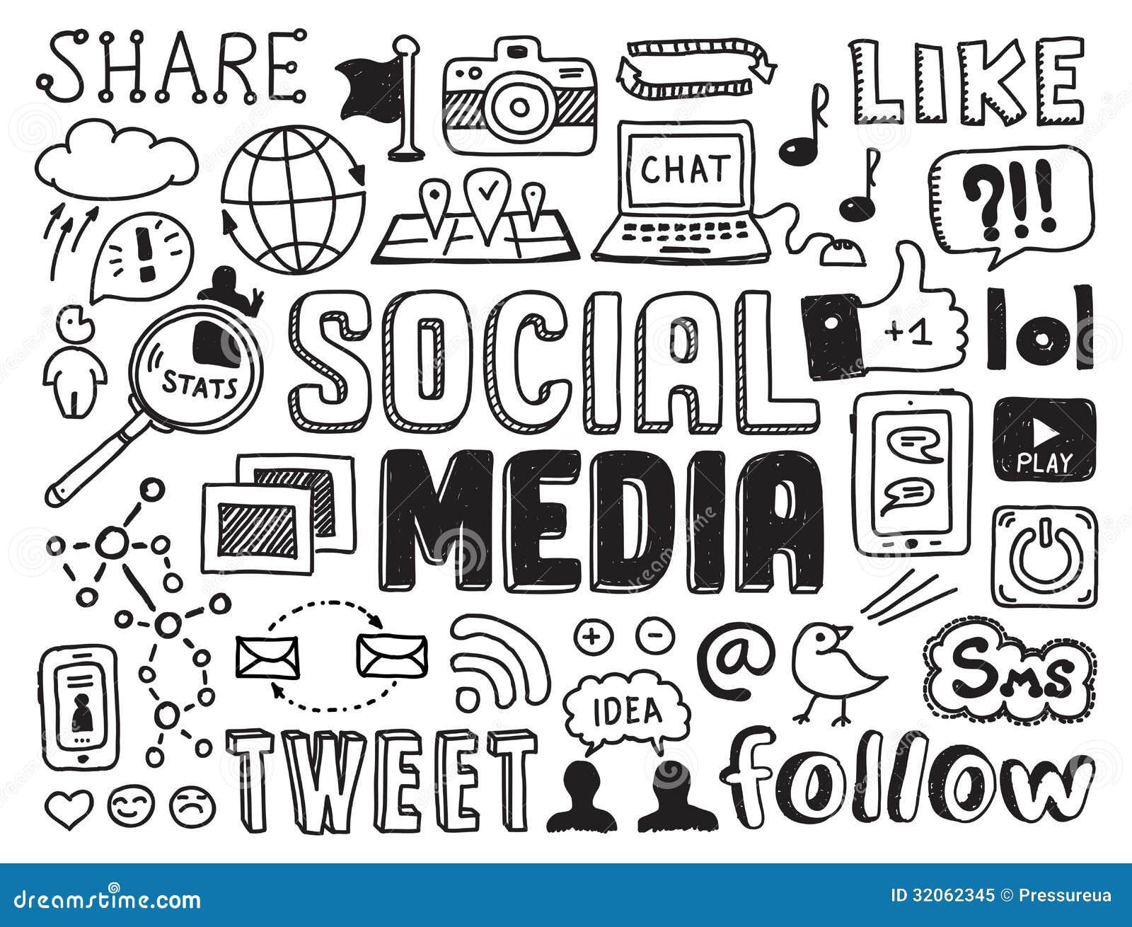 Éléments sociaux de griffonnages de media