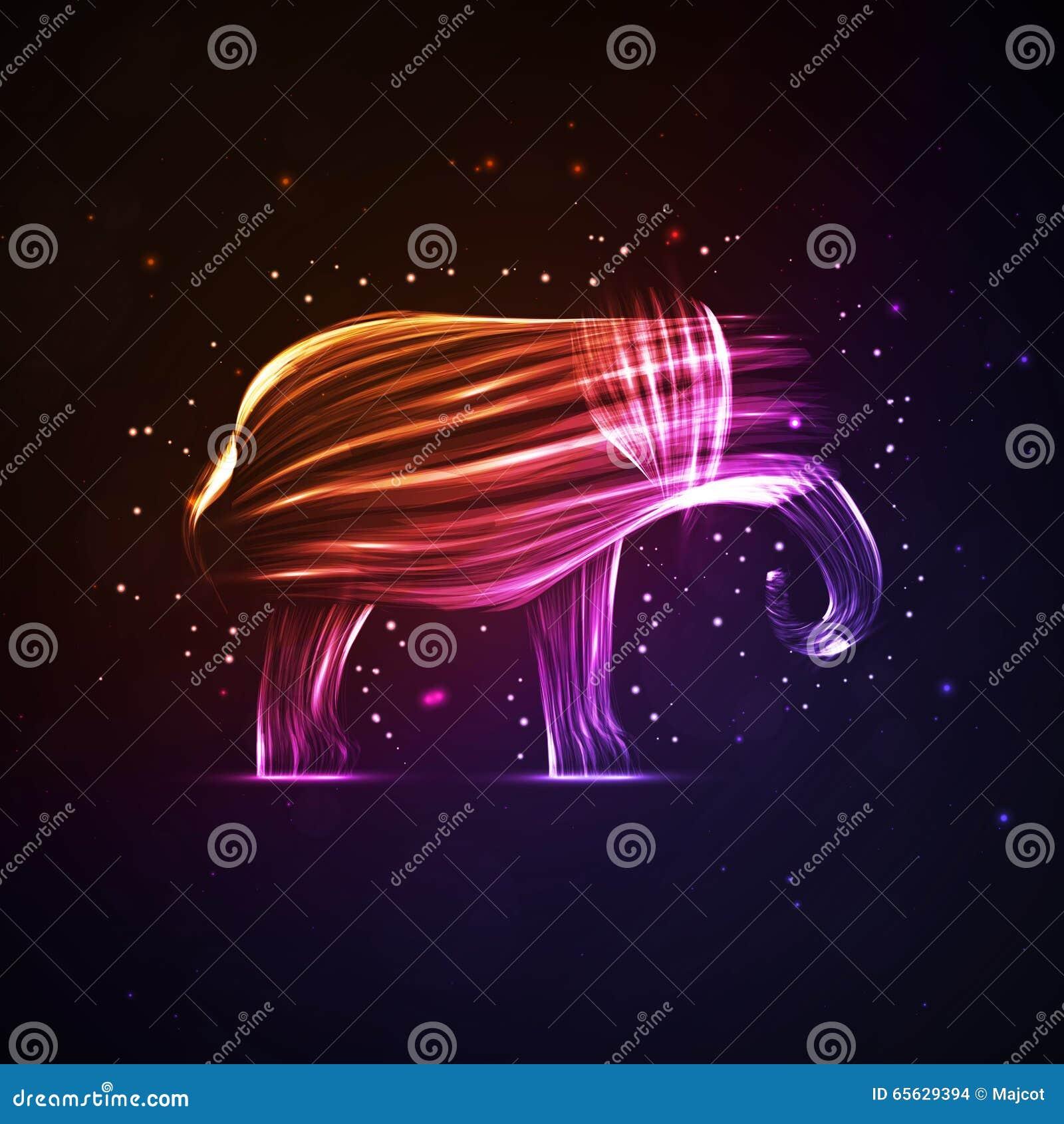 Éléphant abstrait au néon