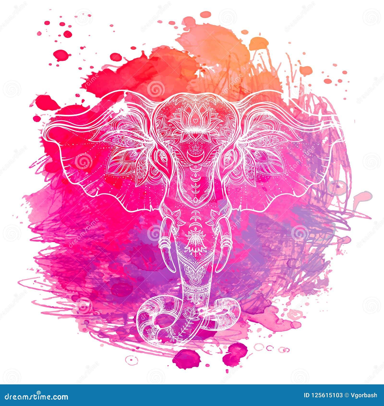 Éléphant d Asie au-dessus de fond d aquarelle Art de tatouage, yoga Ha