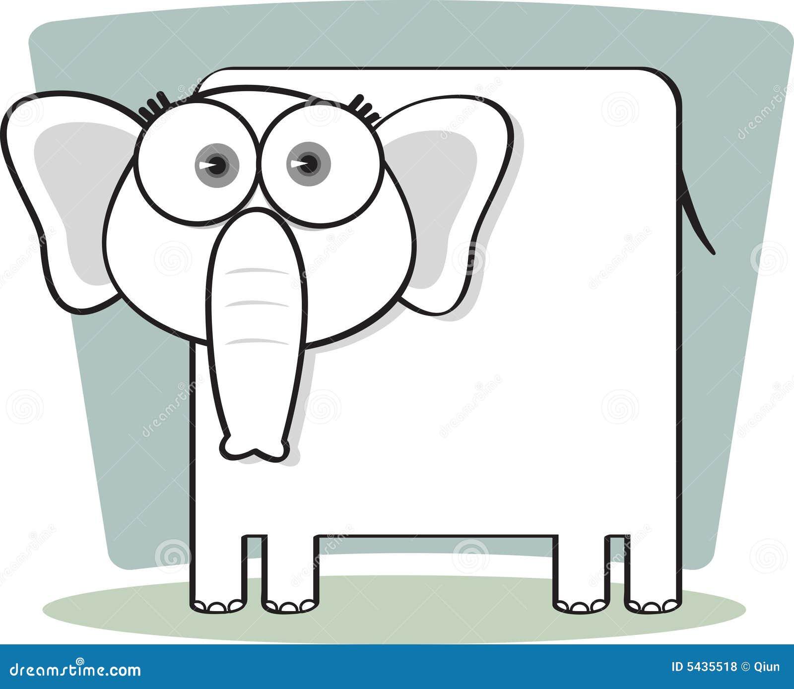 Dessin Anim Noir Et Blanc: Éléphant De Dessin Animé En Noir Et Blanc Illustration De