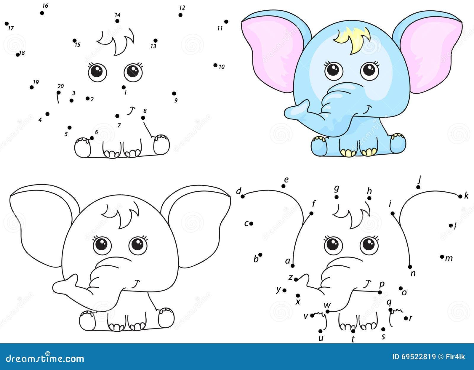 Coloriage Poisson Elephant.Elephant De Dessin Anime Livre De Coloriage Et Point Pour Pointiller