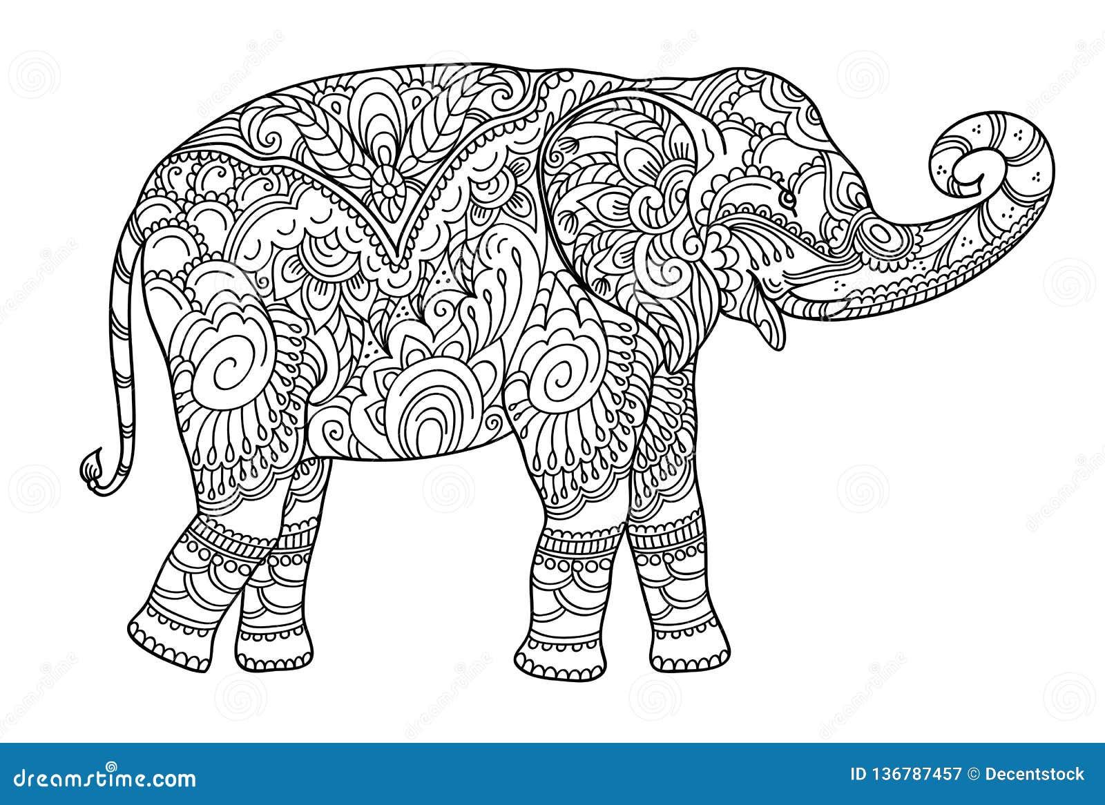 Coloriage Poisson Elephant.Elephant De Dessin De Zentangle Pour Livre De Coloriage Pour L