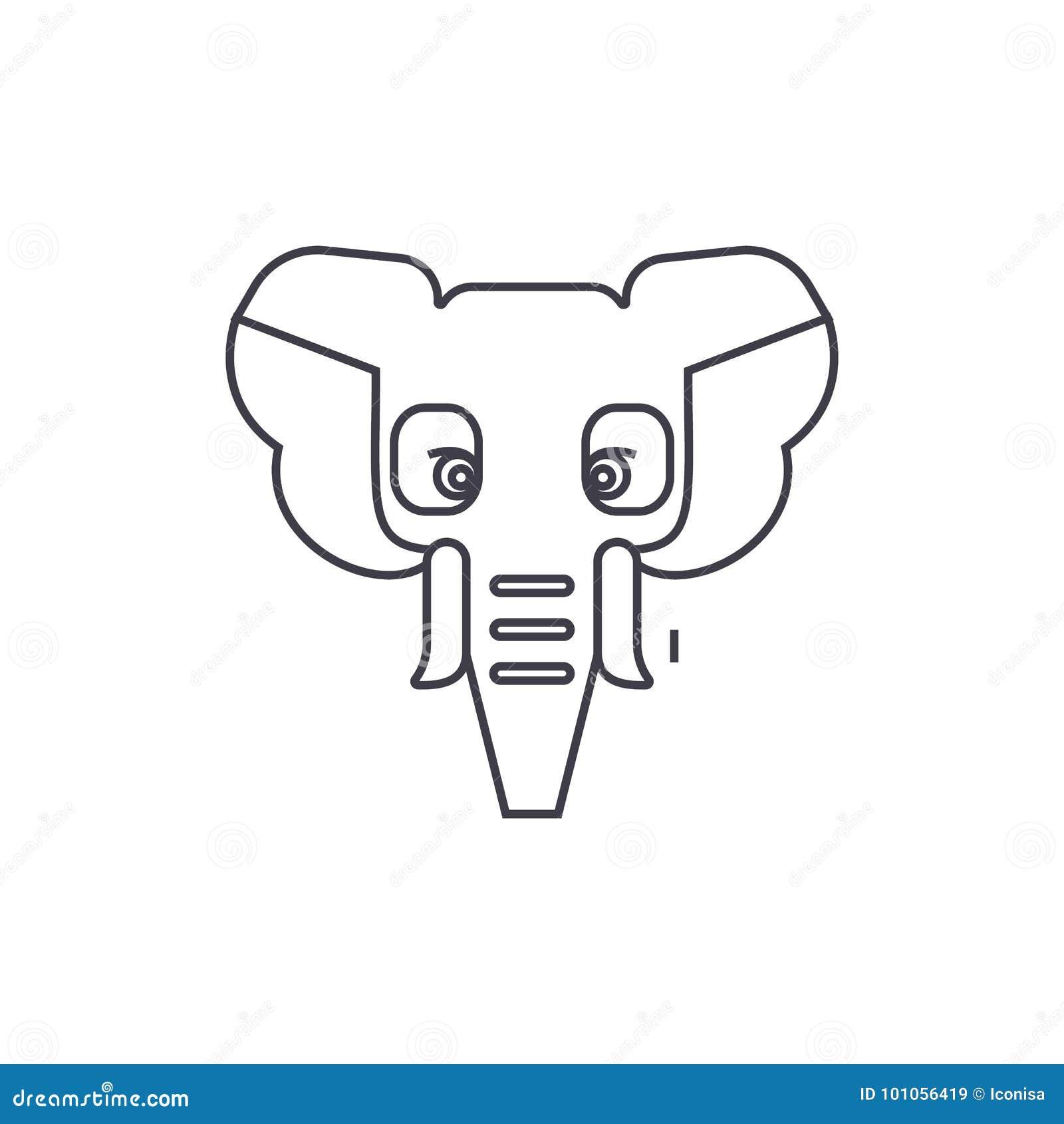 Éléphant, ligne icône, signe, illustration de vecteur d Inde sur le fond, courses editable