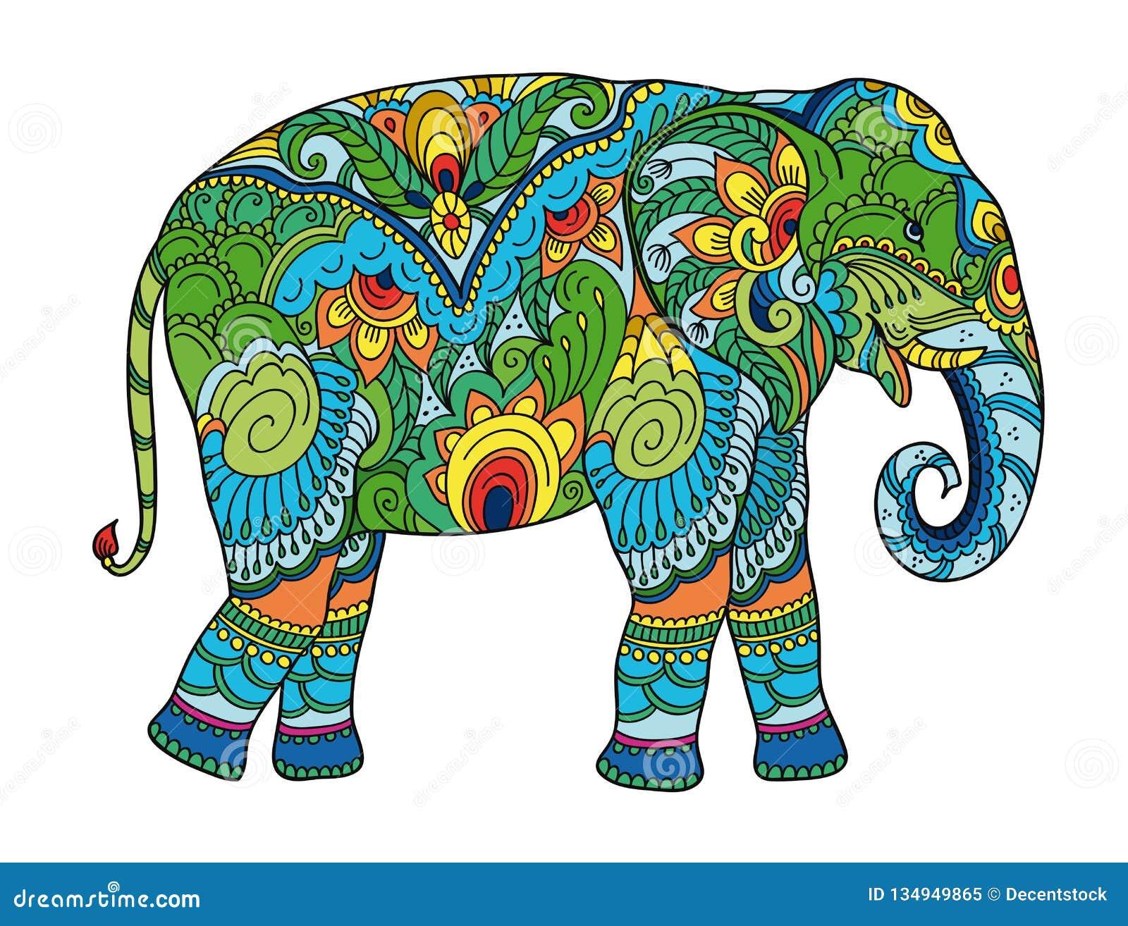 Éléphant stylisé de dessin Croquis à main levée pour anti livre de coloriage adulte d effort