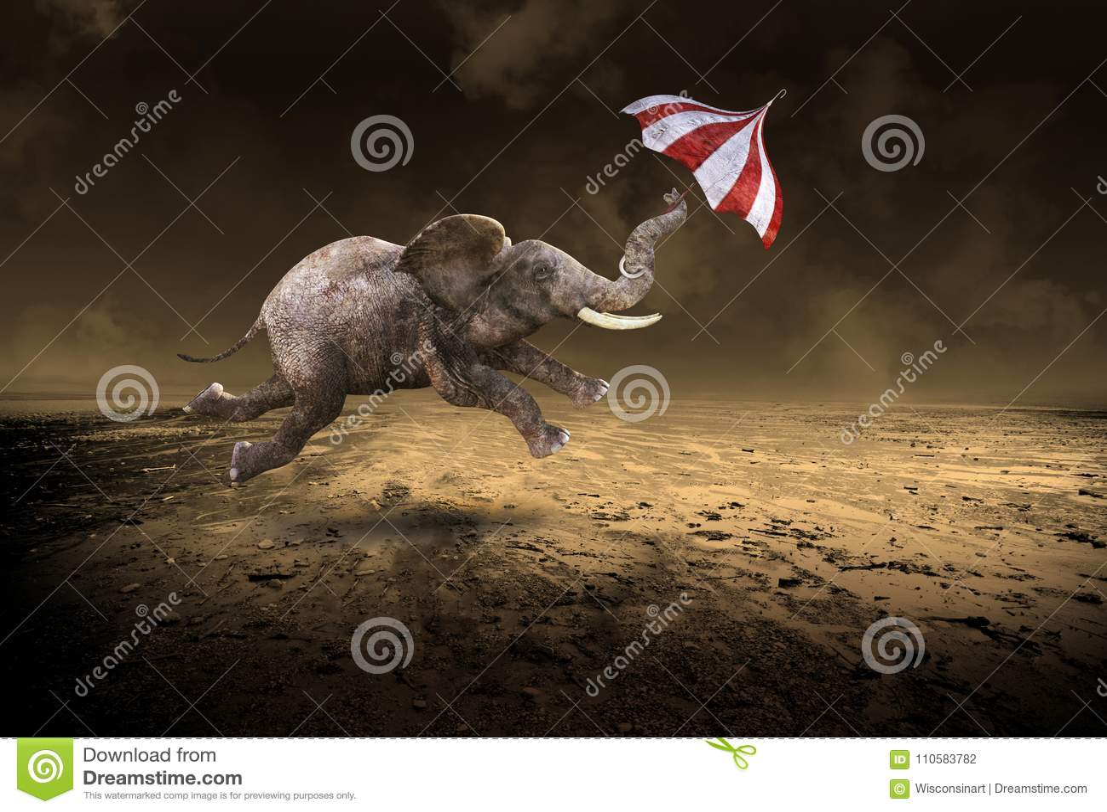 Éléphant surréaliste de vol, désert désolé