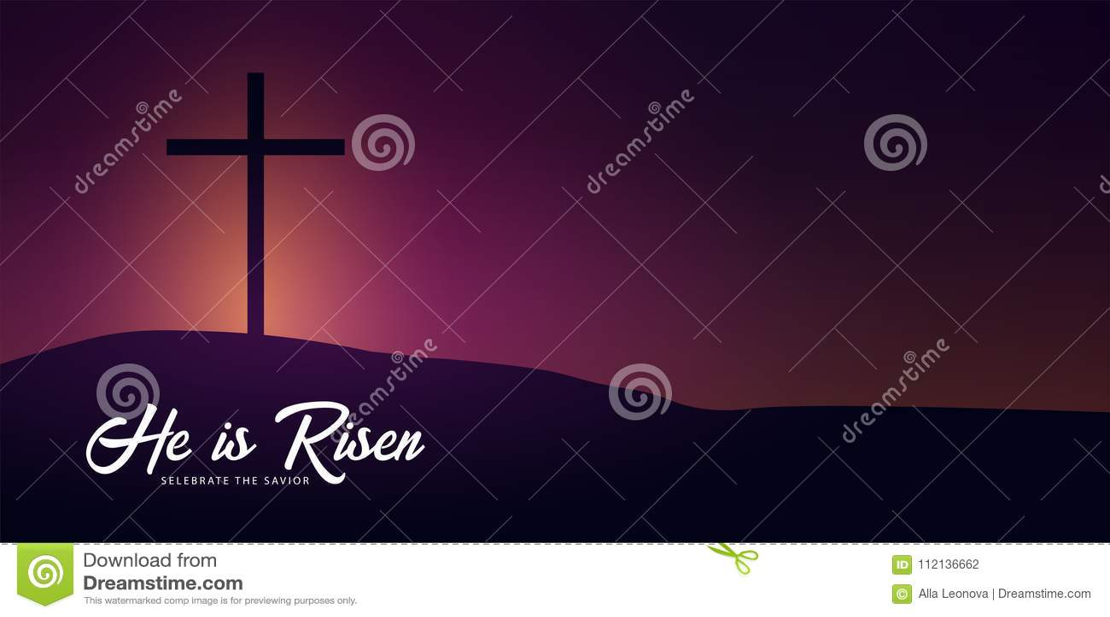 Él se levanta Celebre al salvador Bandera de la iglesia de Pascua con la cruz, motivo cristiano Ilustración del vector