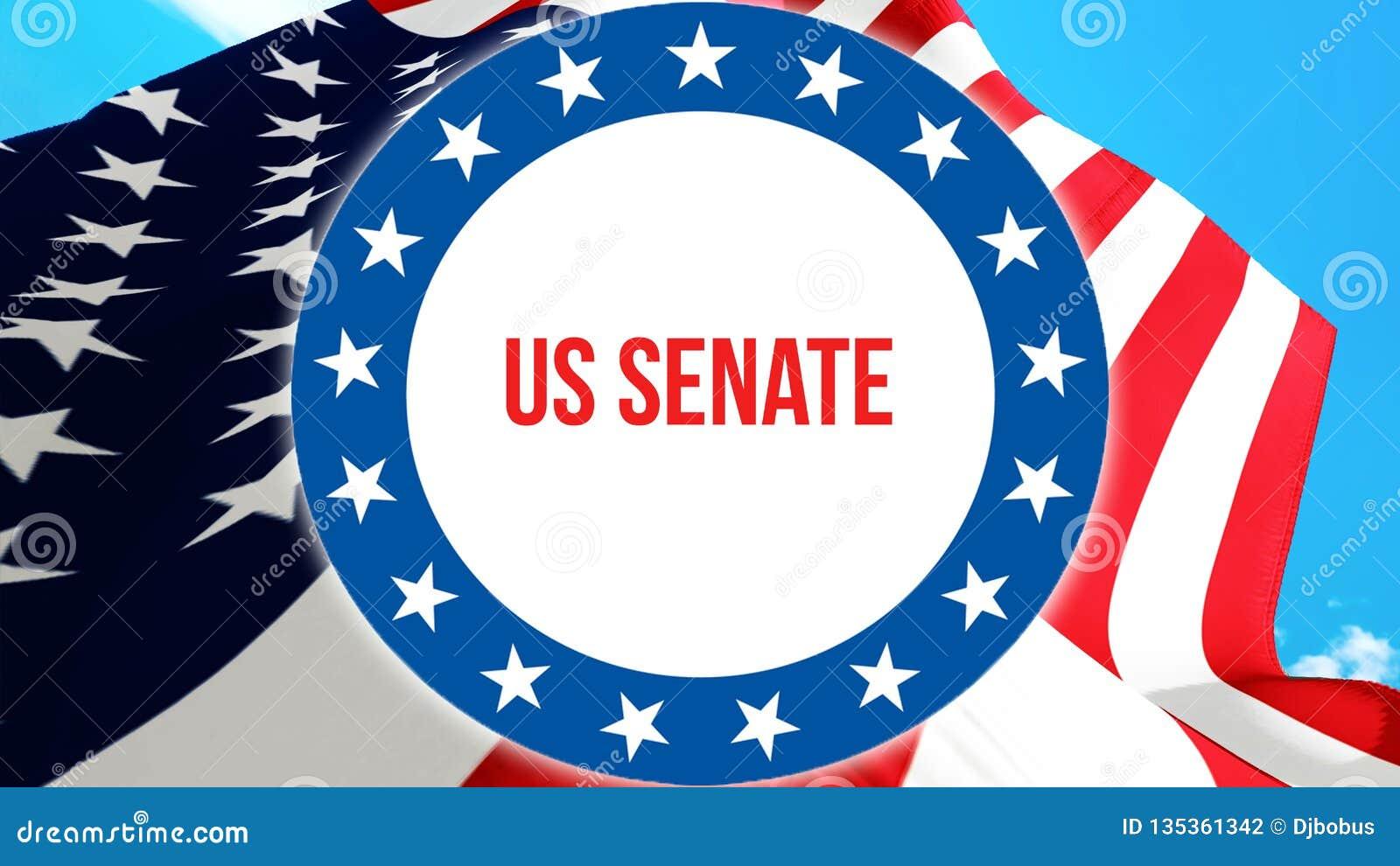 Élection de sénat des USA sur un fond des Etats-Unis, rendu 3D Drapeau des Etats-Unis d Amérique ondulant dans le vent Votant, dé