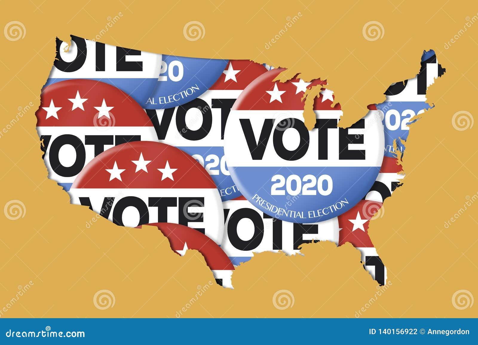 élections présidentielles 2020 carte Élection Présidentielle 2020 Illustration Stock   Illustration du
