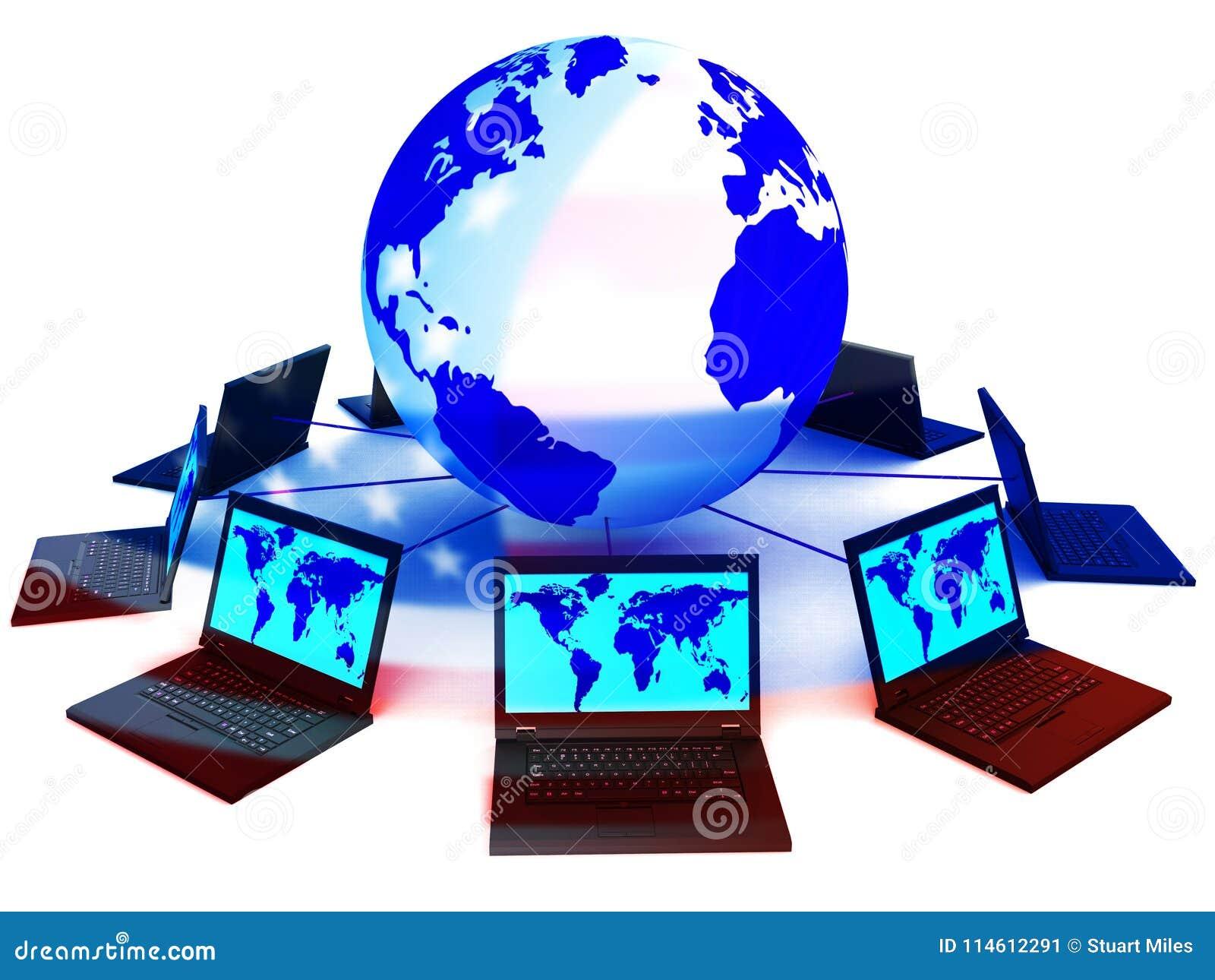Élection reliée de salons de l informatique entaillant l illustration 3d