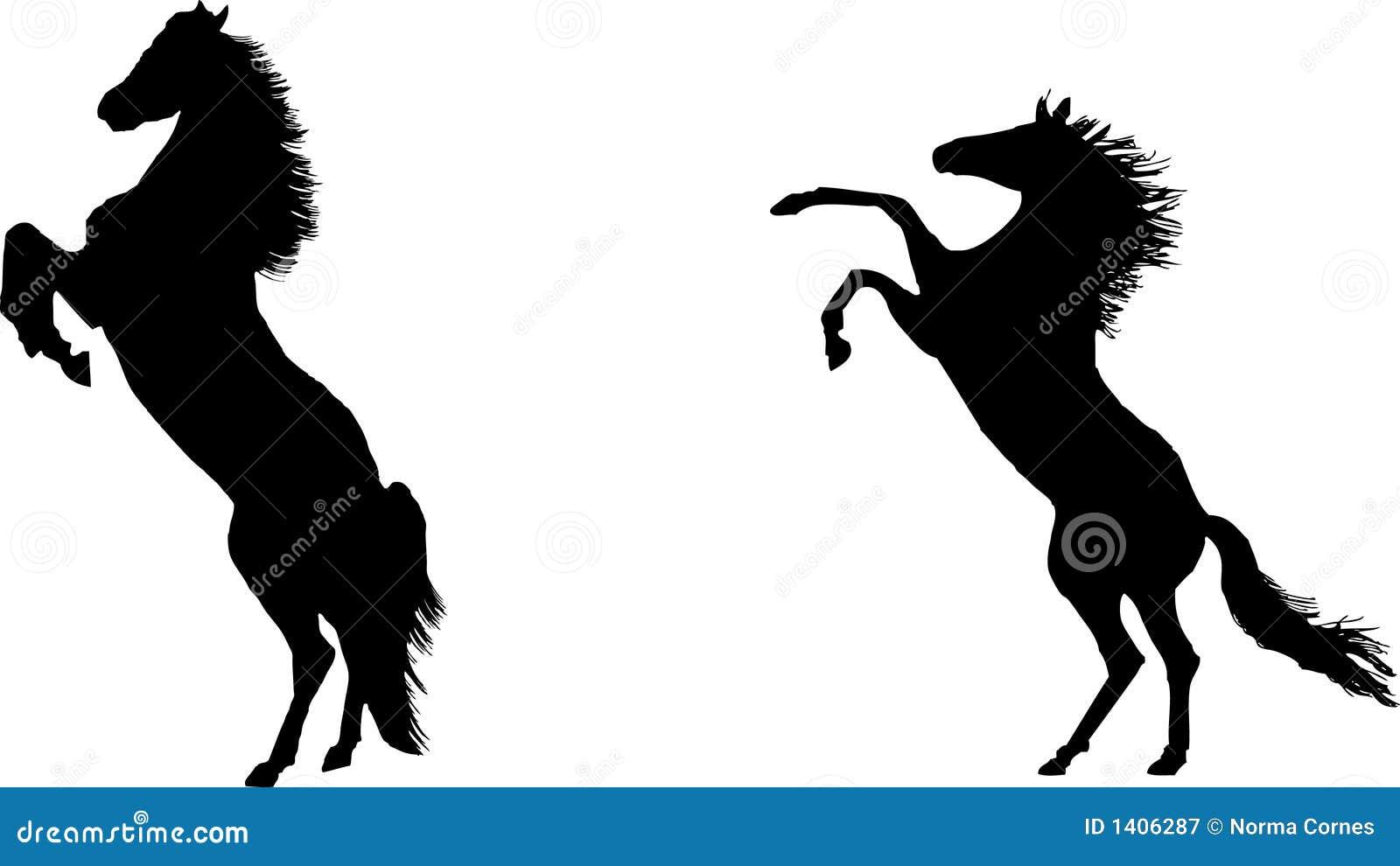 Élevage des chevaux en silhouette