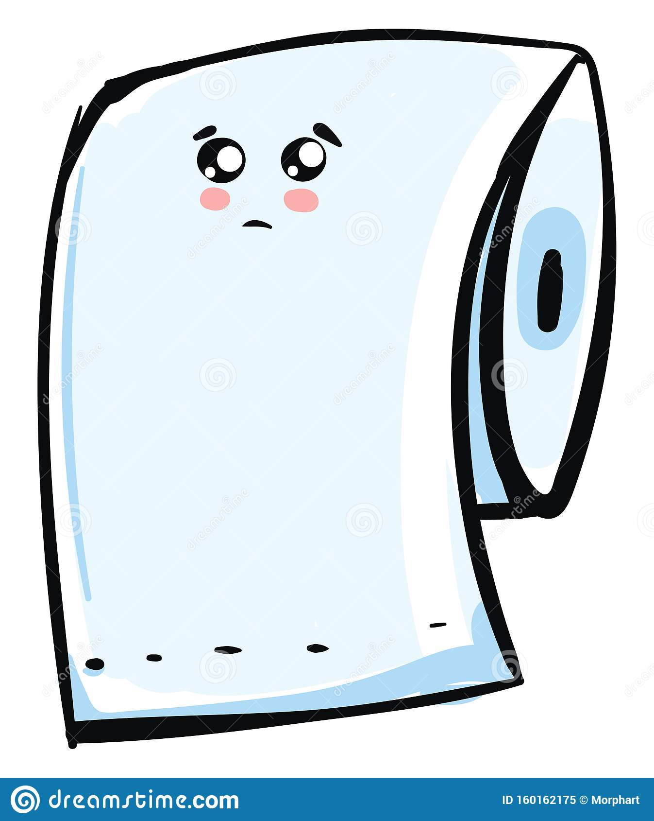 Un Toilette Ou Une Toilette Émoji d'un triste paquet de papier de toilette bleu, d'un