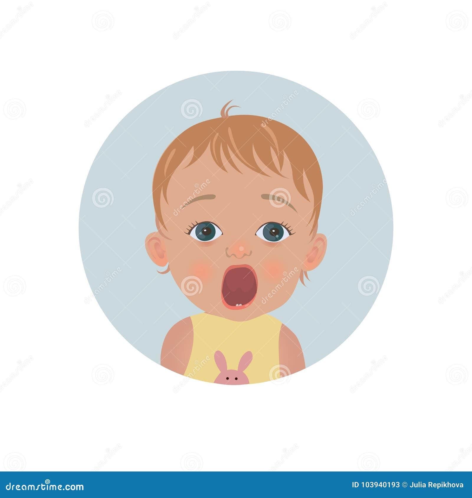 Émoticône choquée mignonne de bébé Emoji effrayé d enfant Smiley effrayé d enfant en bas âge Expression effrayée