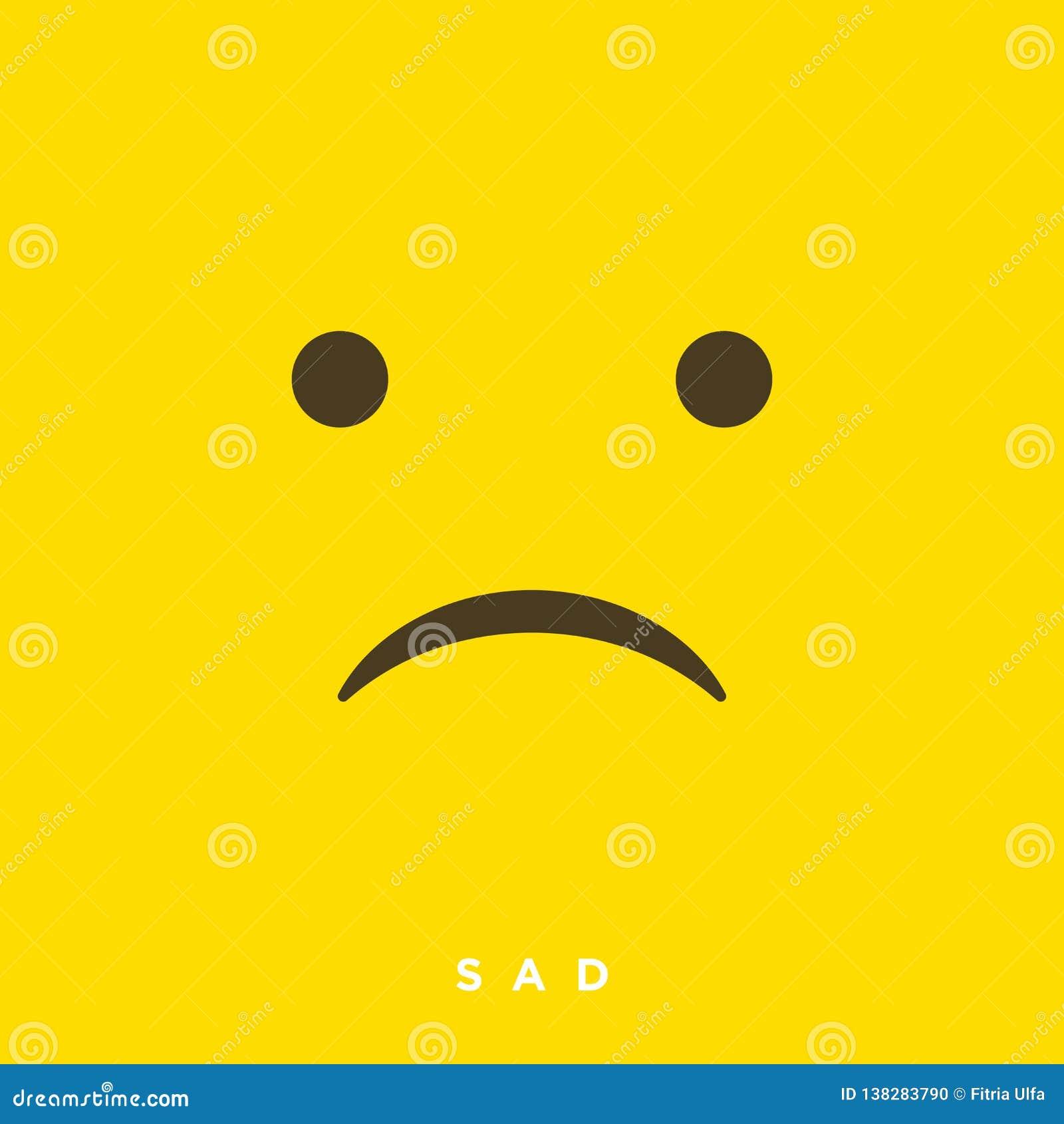 Émoticônes tristes de bande dessinée de haute qualité de vecteur avec le style plat de conception, réactions sociales de médias -