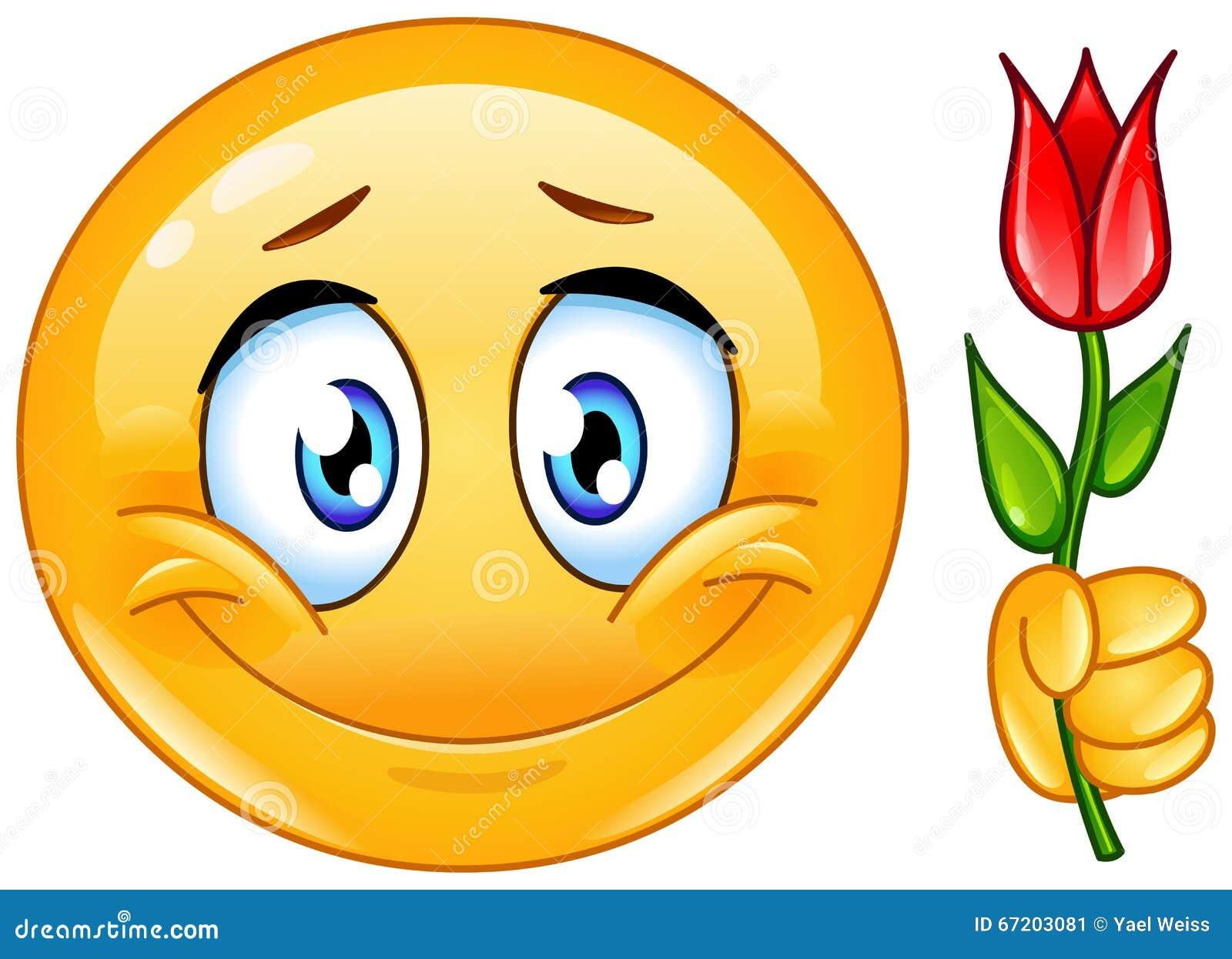 Émoticône avec la fleur