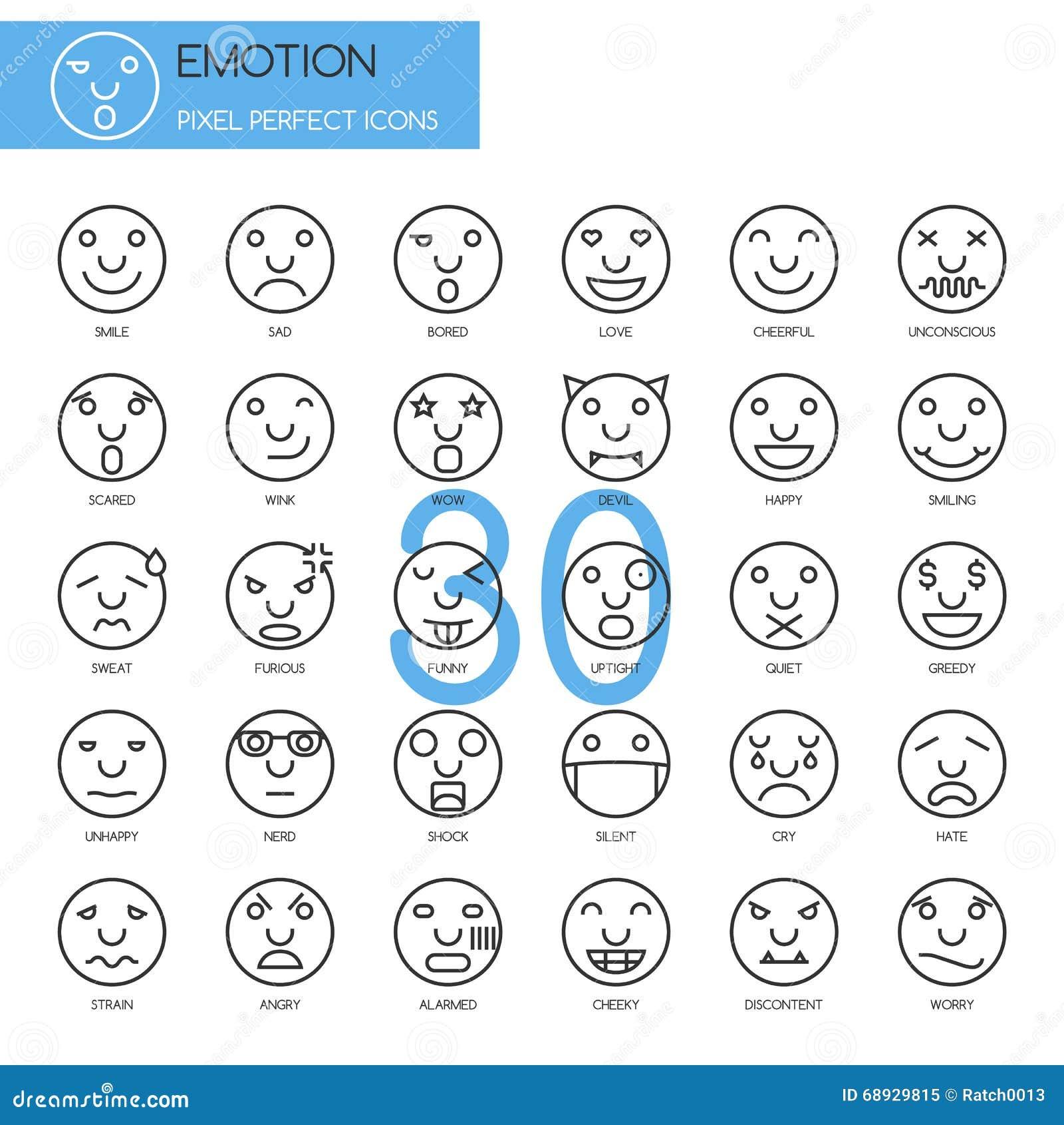 Émotion, ligne mince icônes réglées