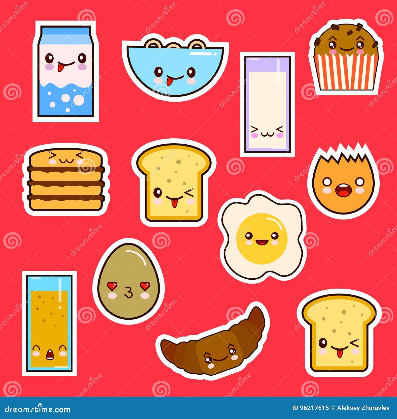 Émotion mignonne réglée de visages de nourriture de petit déjeuner de Kawaii