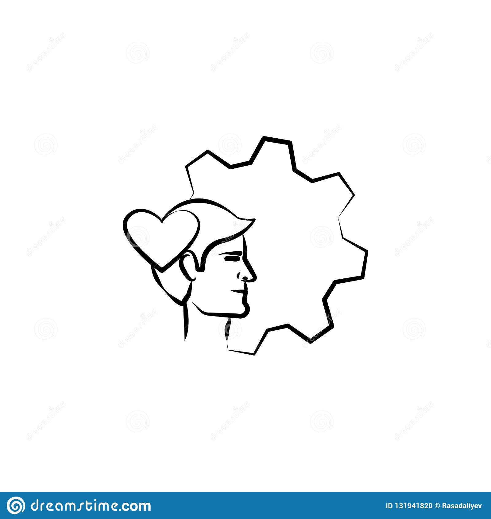 émotion, tête, icône tirée par la main d amour Conception de symbole d ensemble d ensemble d affaires