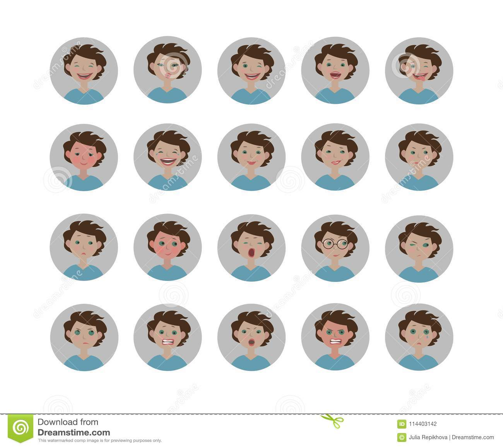 Émotions d avatars Ensemble d expressions faciales Icônes d emoji de style de bande dessinée