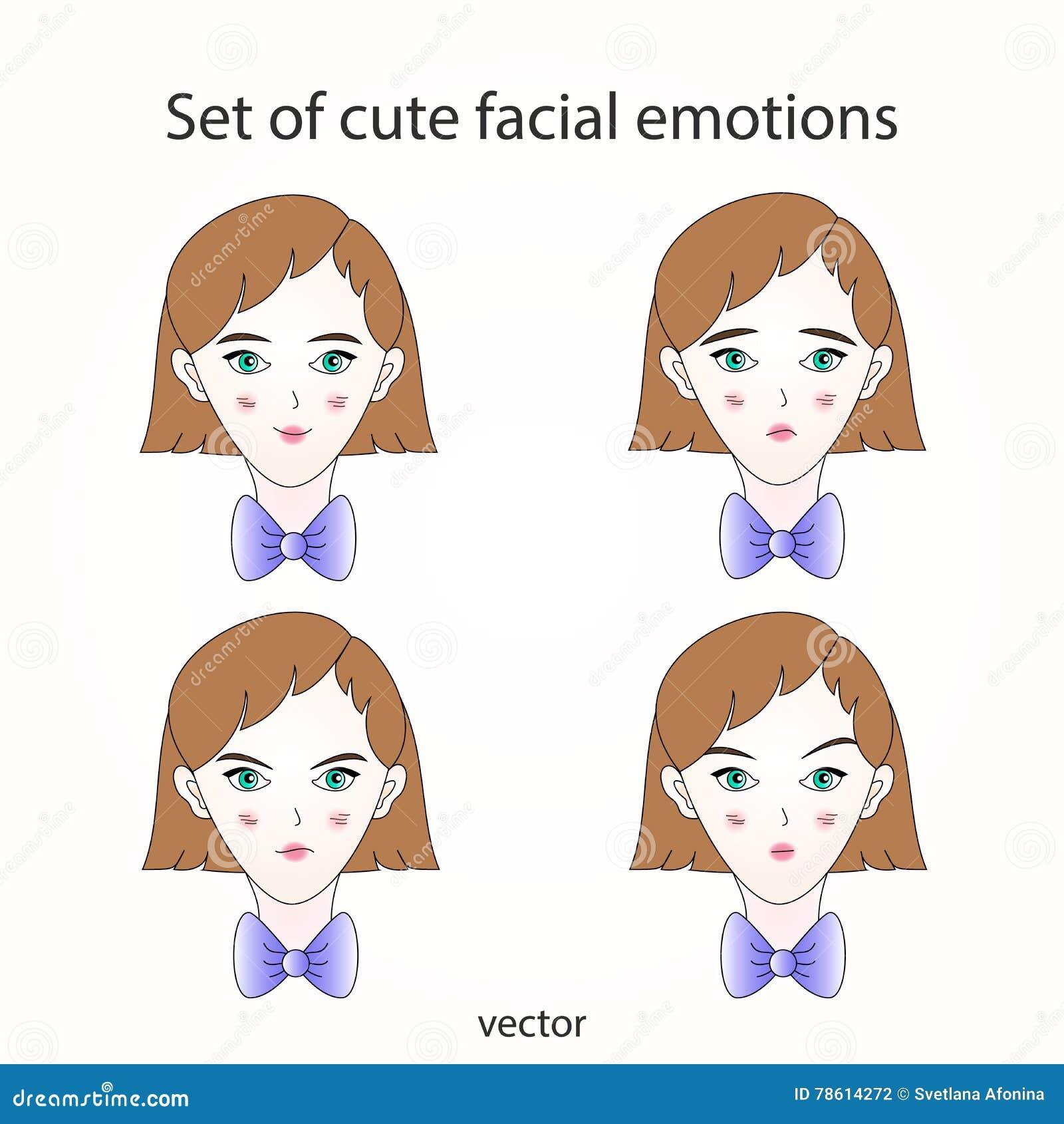 Émotions faciales mignonnes réglées