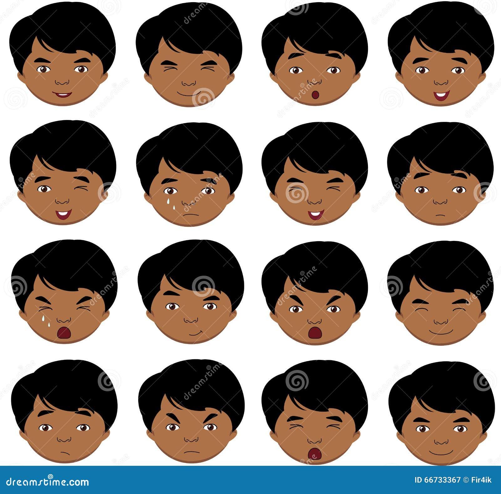 Émotions indiennes de garçon : joie, surprise, crainte, tristesse, peine, cryin