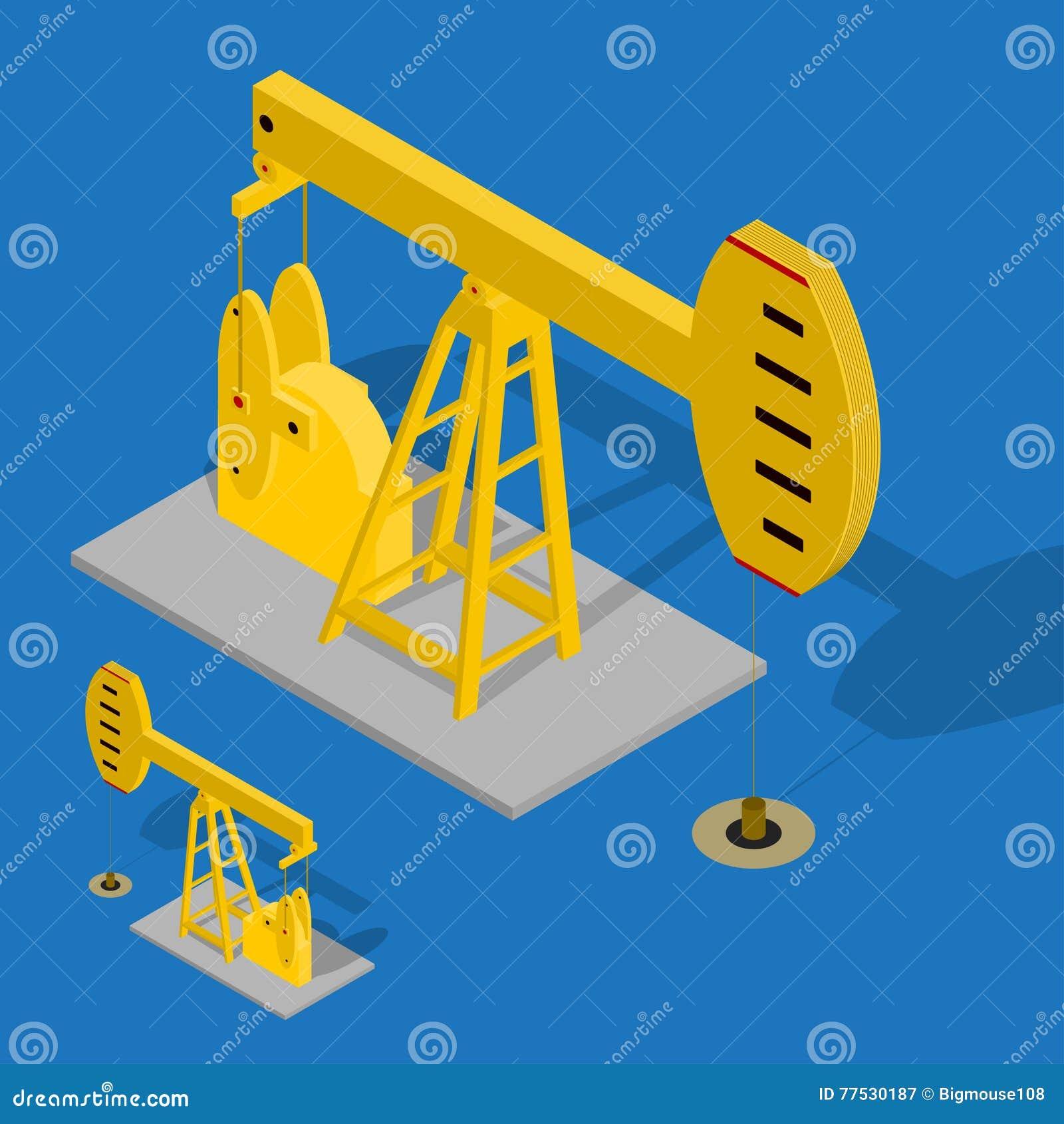 Énergie de pompe à huile industrielle sur un fond bleu Vecteur