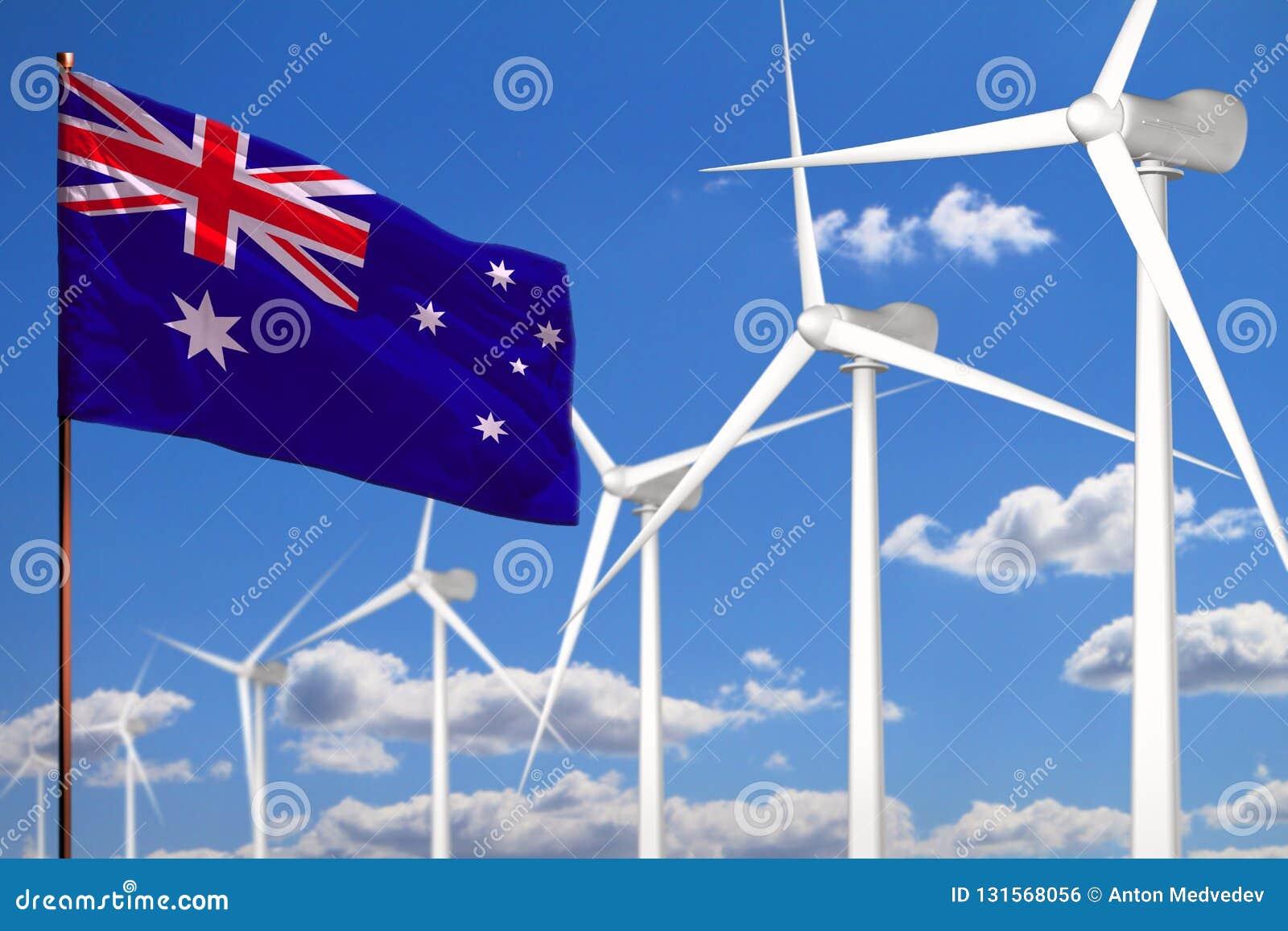Énergie de substitution de l Australie, concept industriel d énergie éolienne avec des moulins à vent et drapeau - énergie renouv