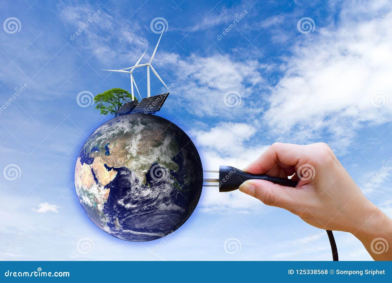 Énergie propre à énergie solaire de production d électricité de turbine de vent des éléments de cette image meublés par la NASA