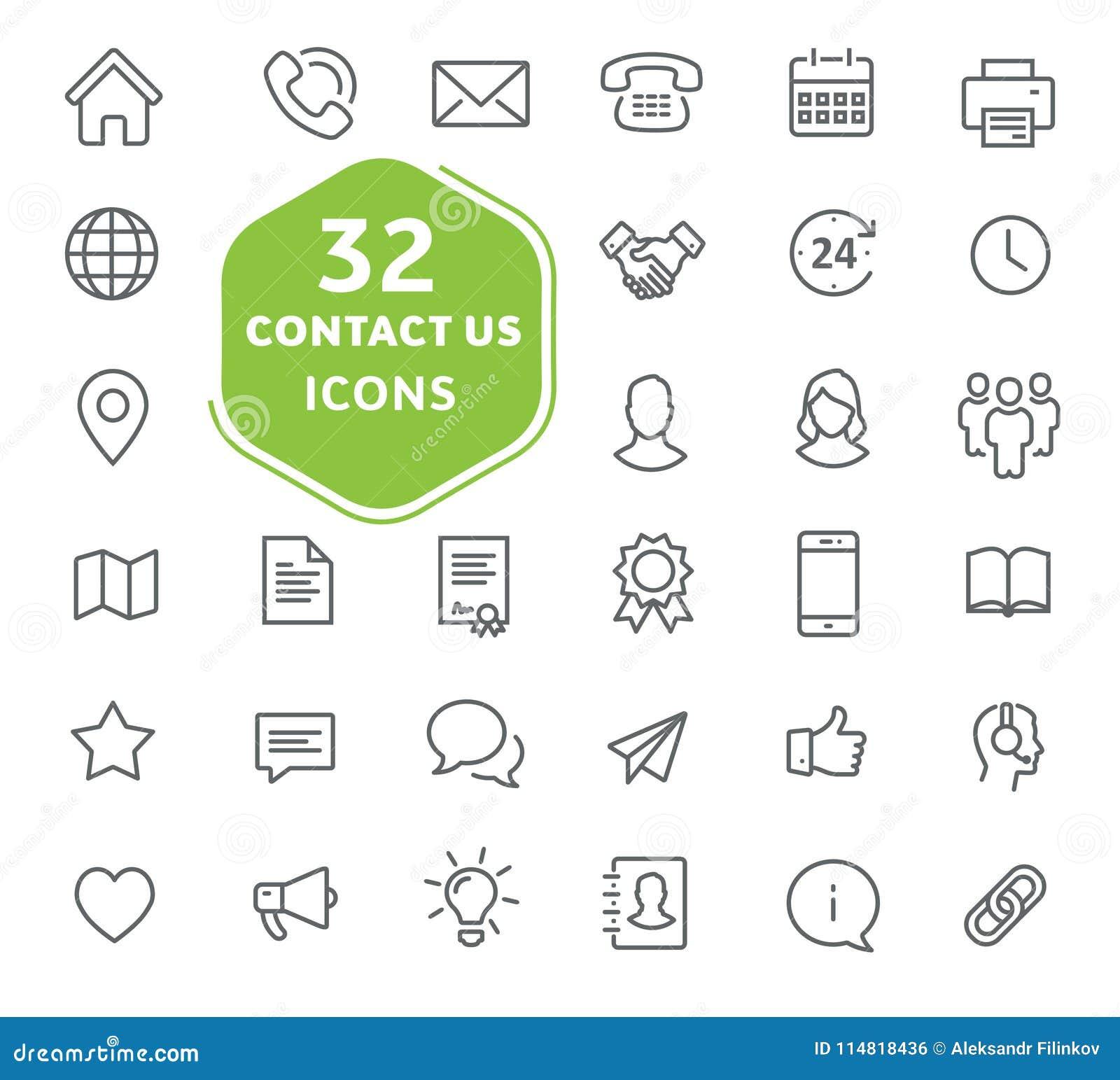 Éntrenos en contacto con los iconos Colección de los iconos del esquema