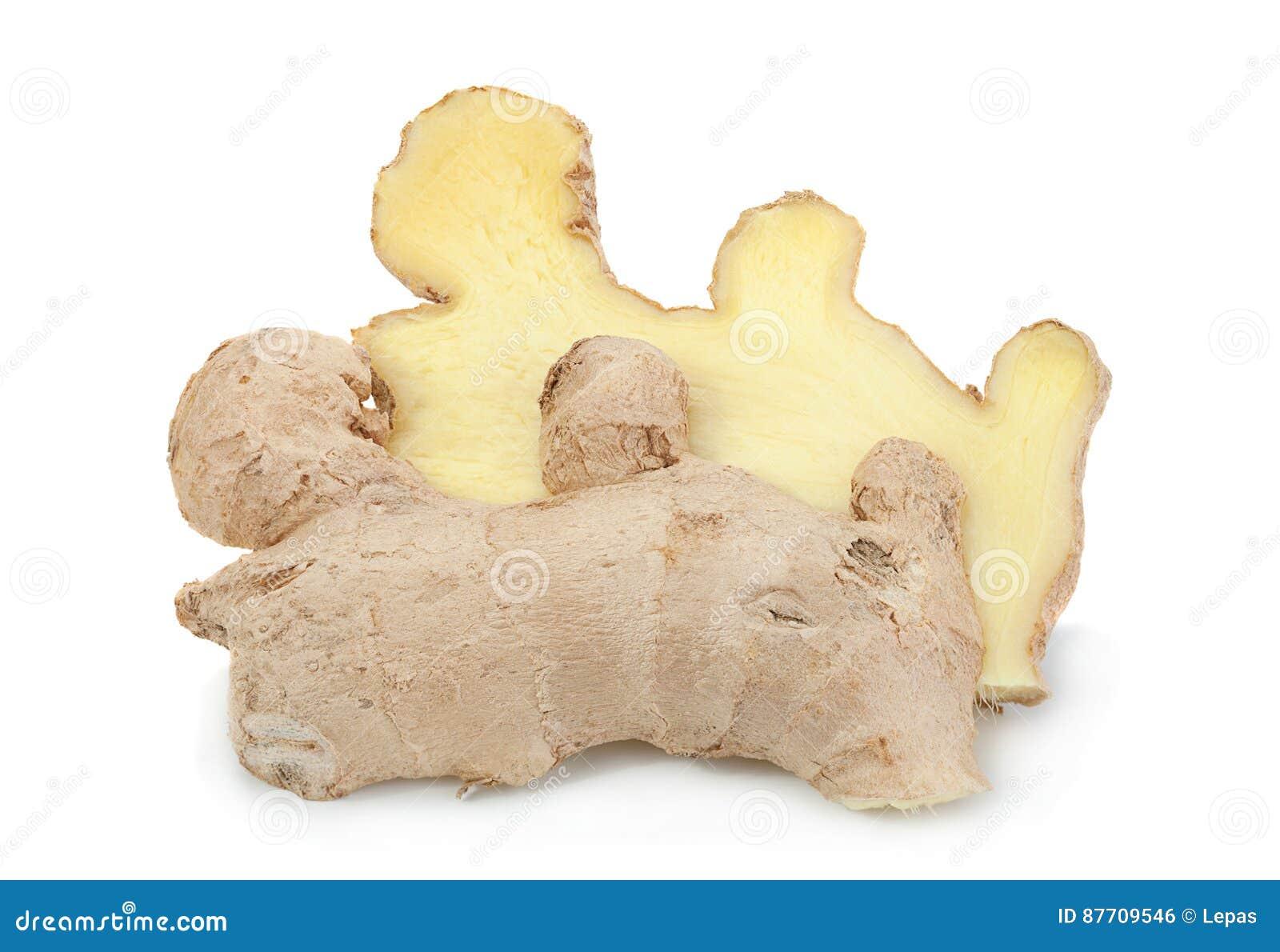 Épice de gingembre sur le blanc
