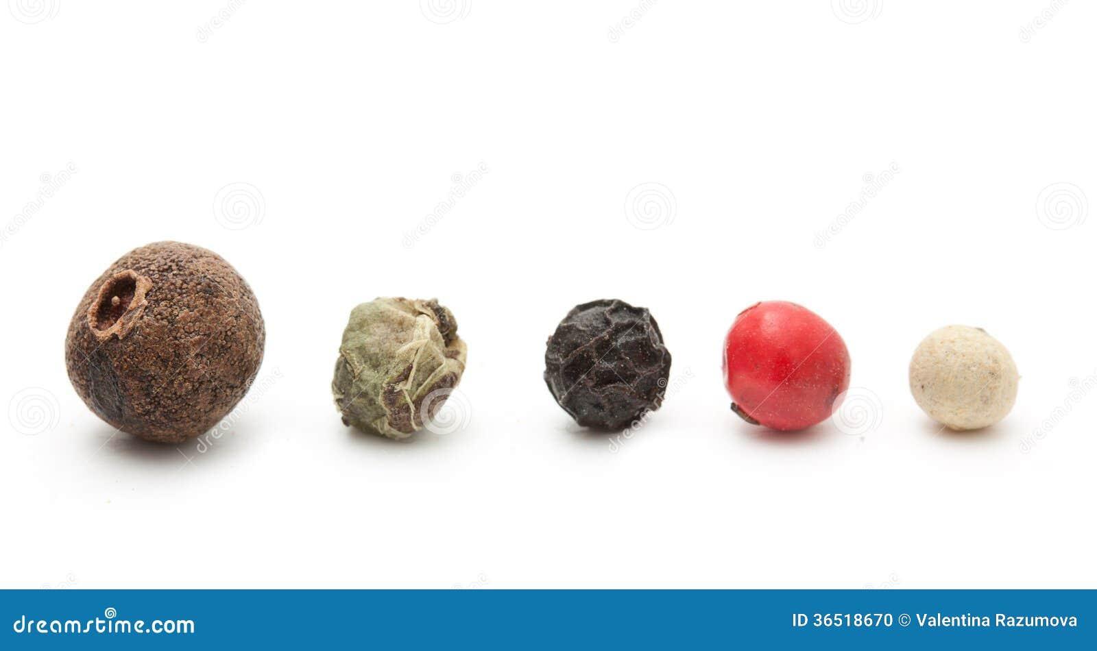 Épice de poivre noir, rouge, vert, blanc