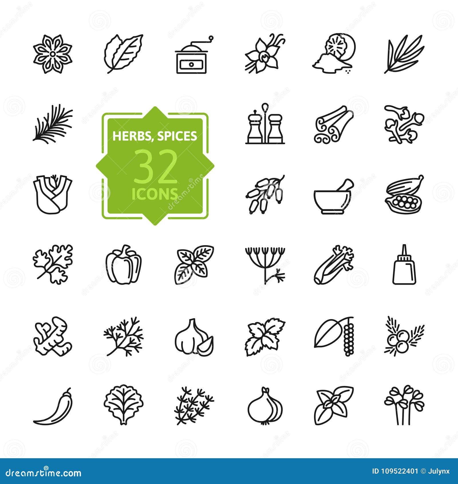 Épices, condiments et herbes - ligne mince minimale ensemble d icône de Web Collection d icônes d ensemble