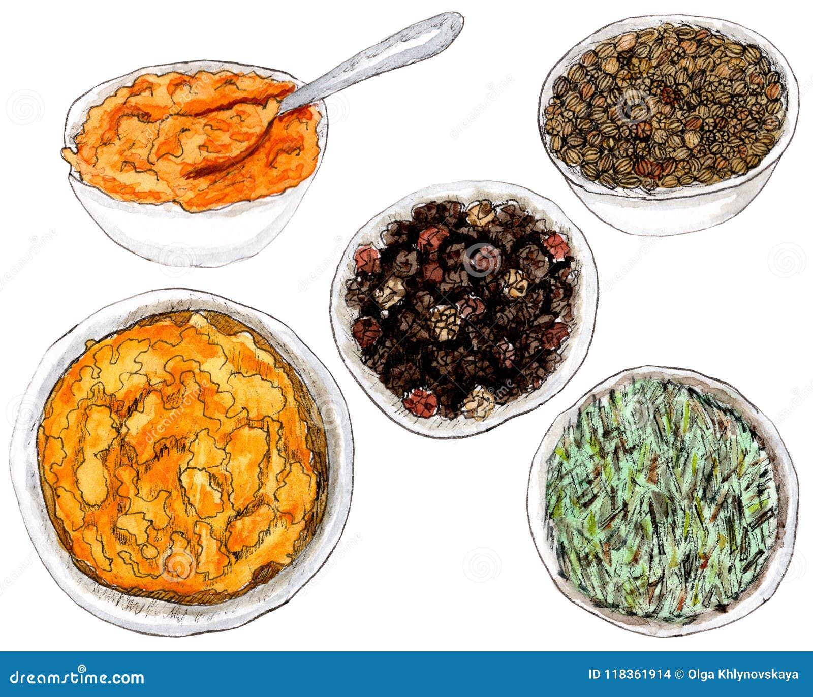 Épices d aquarelle dans le plat