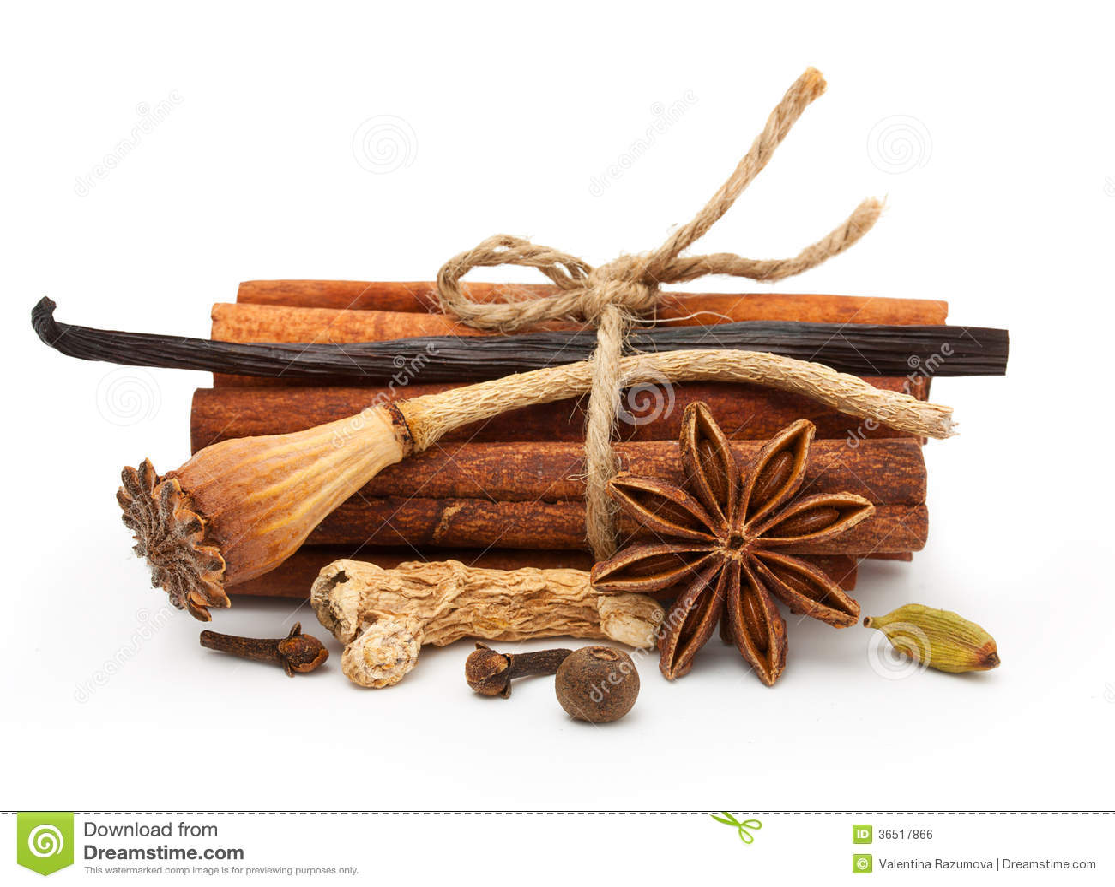 Épices : vanille, anis d étoile, bâtons de cannelle